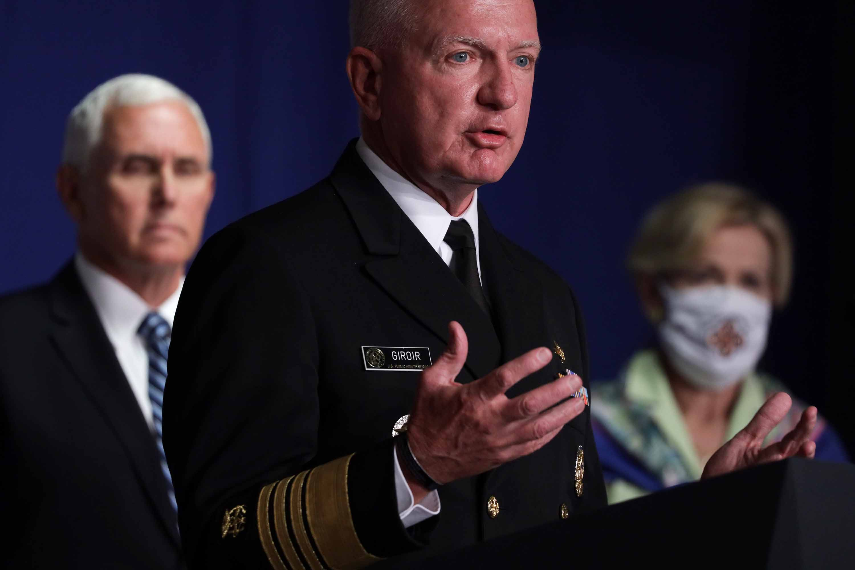 Admiral Brett Giroir, assistant secretary for health at the US Department of Health and Human Services, speaks during a White House Coronavirus Task Force press briefing in Washington, DC on July 8.