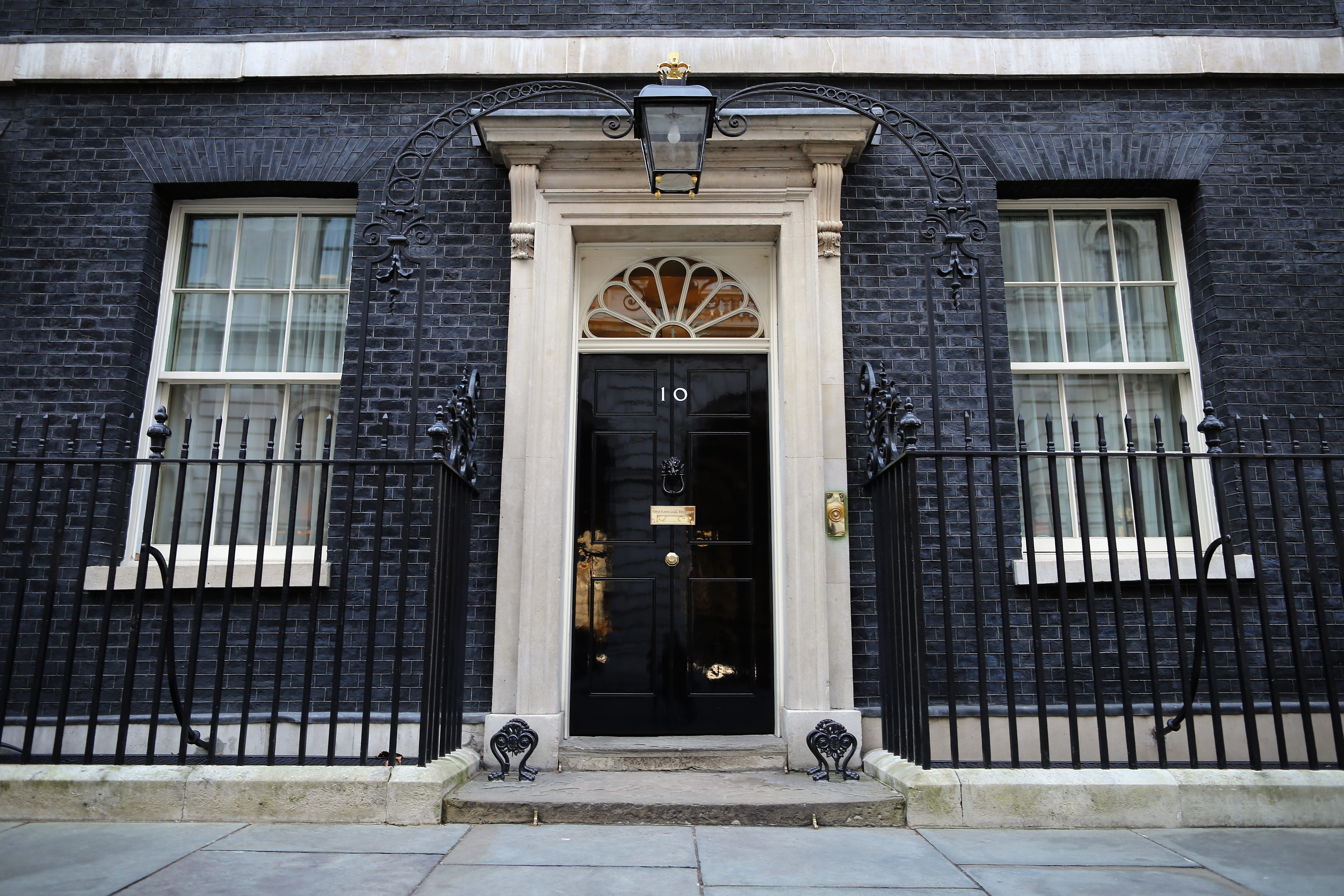 A general view of Number 10 Downing Street's front door.