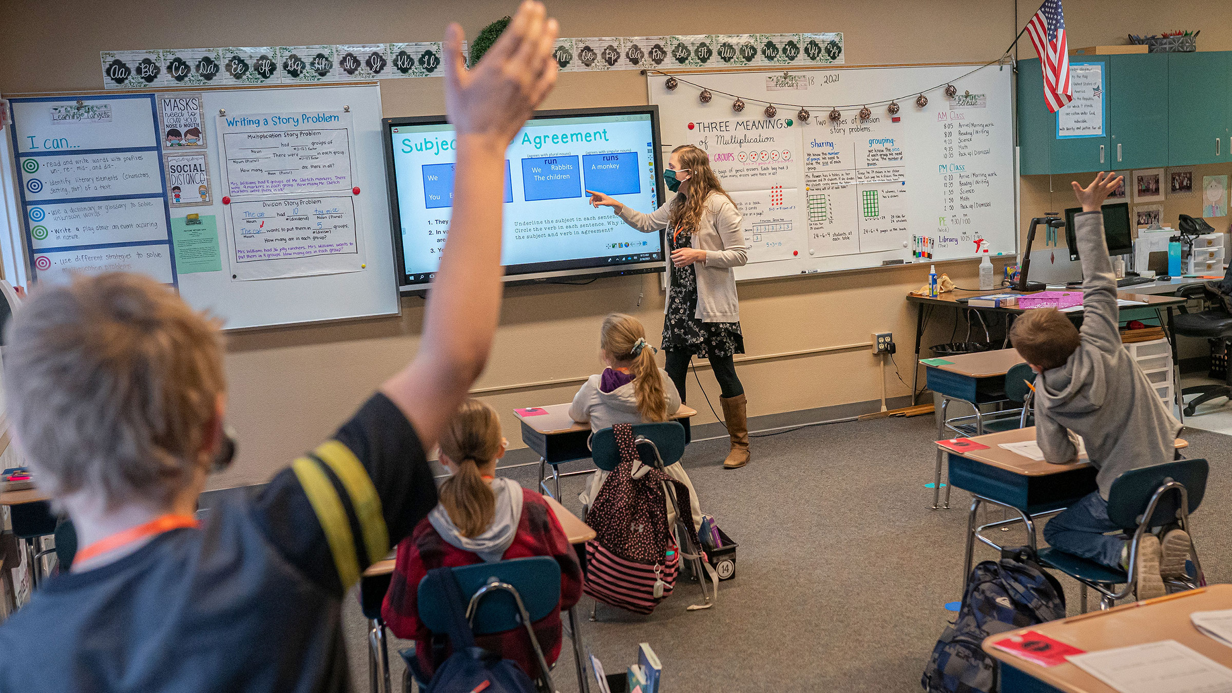 Third grade students attend class at Green Mountain School on February 18, in Woodland, Washington.