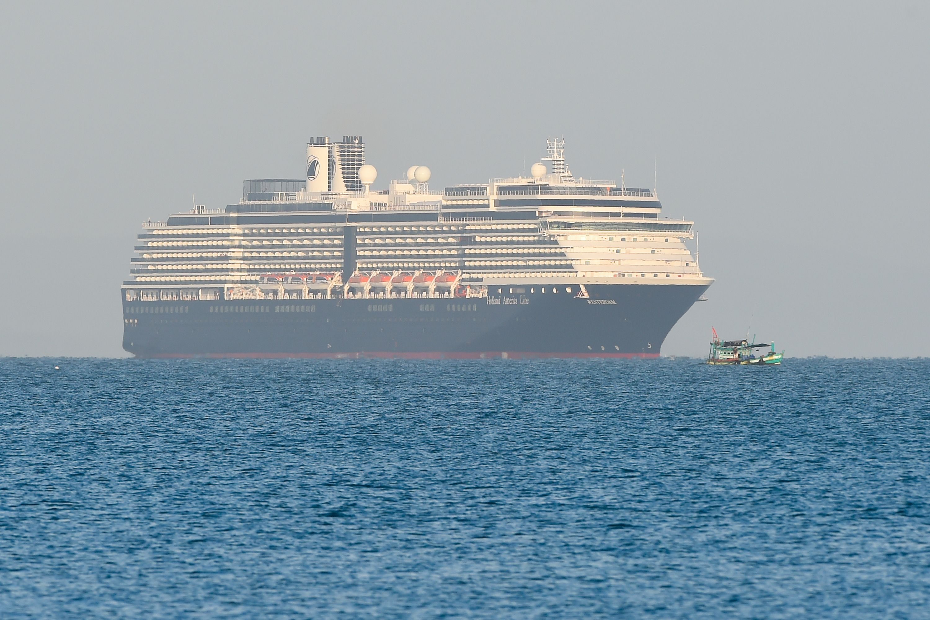 The Westerdam cruise ship approaches port in Sihanoukville, on Cambodia's southern coast where the liner had received permission to dock.
