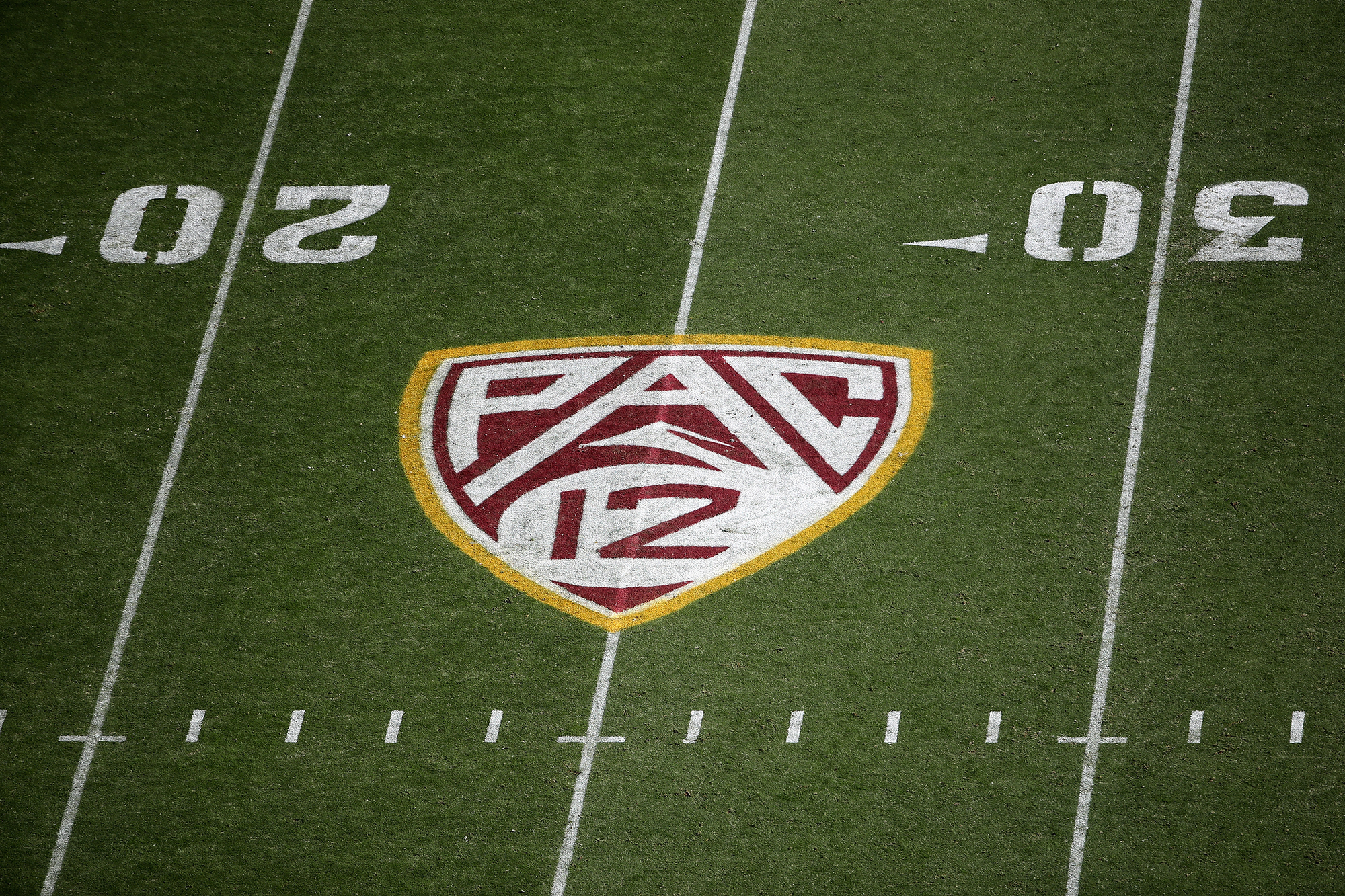 The Pac-12 logo seen on the field during the NCAAF game at Sun Devil Stadium on November 09, 2019 in Tempe, Arizona.