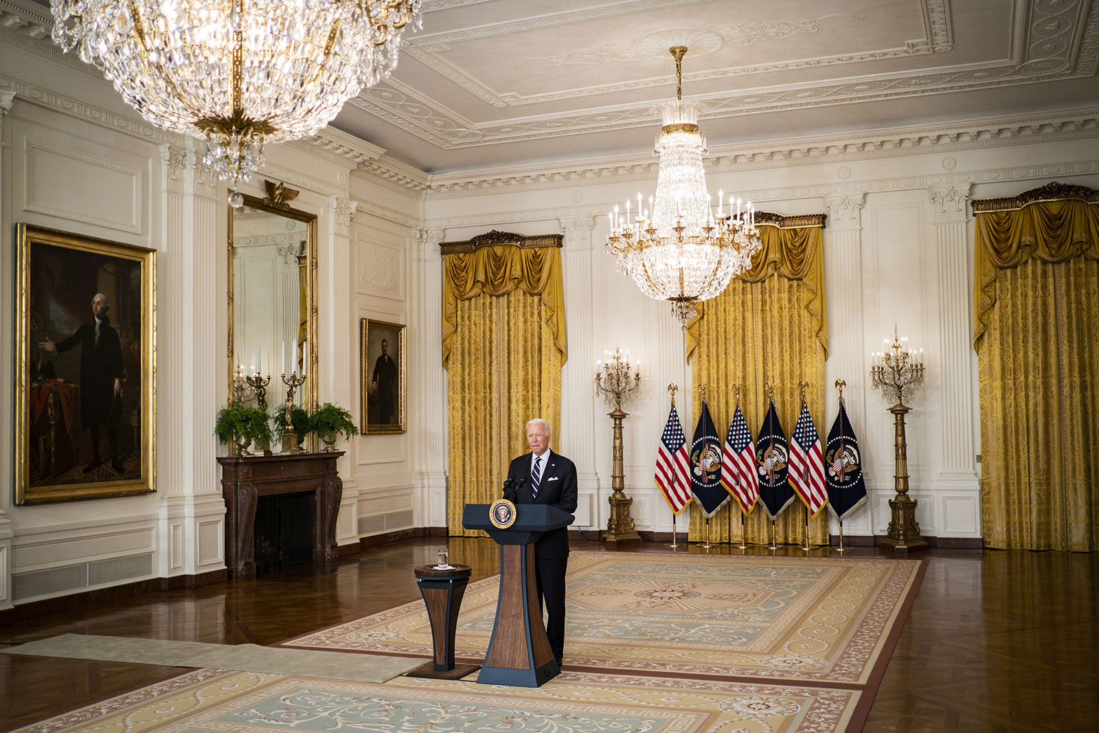 President Joe Biden delivers remarks on Covid-19 vaccines on August 18.