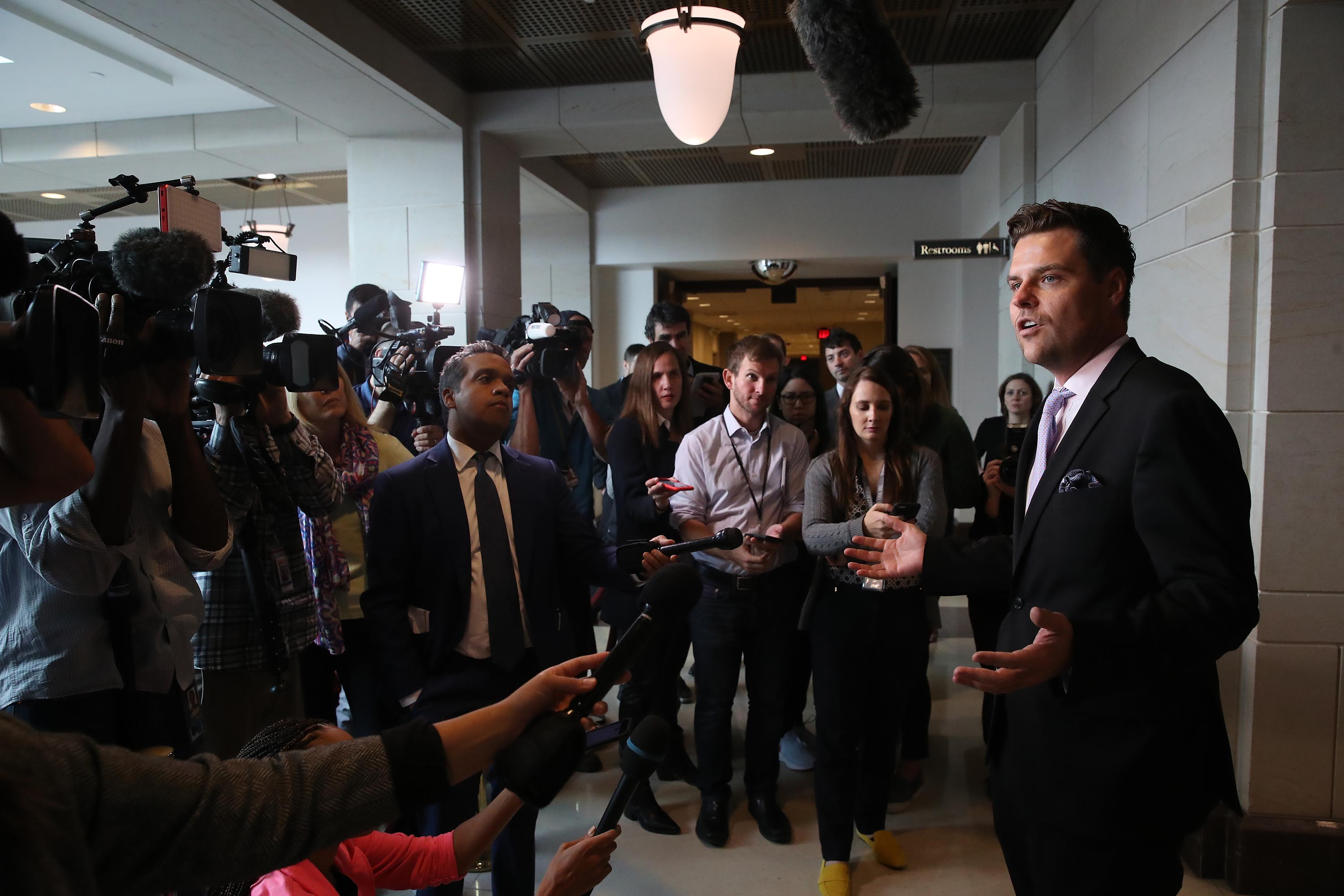 Rep. Matt Gaetz speaks to the media as Fiona Hill attends a closed door hearing at the US Capitol on Monday.