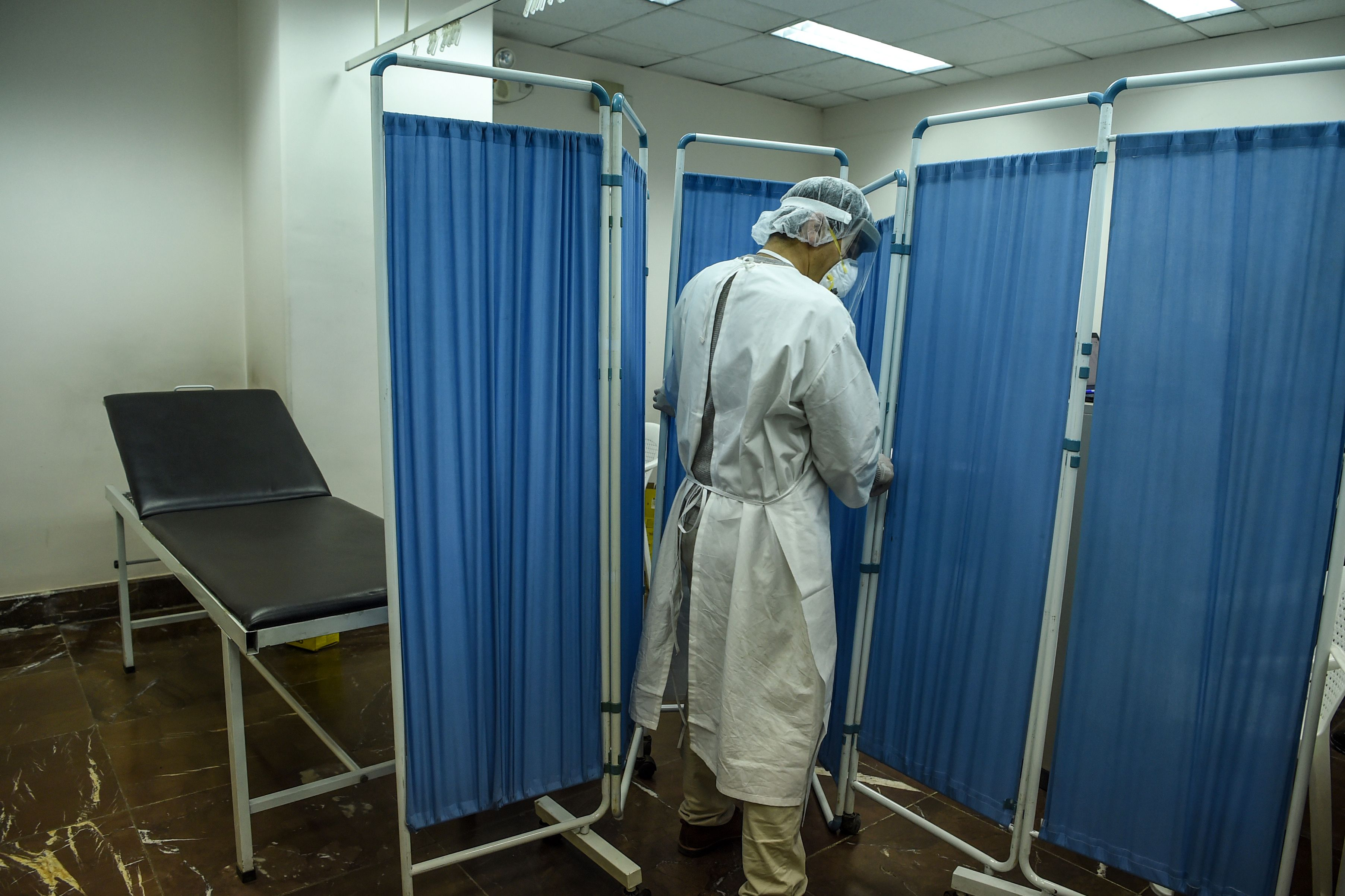 A health services staff member in an isolation ward at the Hamid Karzai International Airport in Kabul, Afghanistan on February 2.
