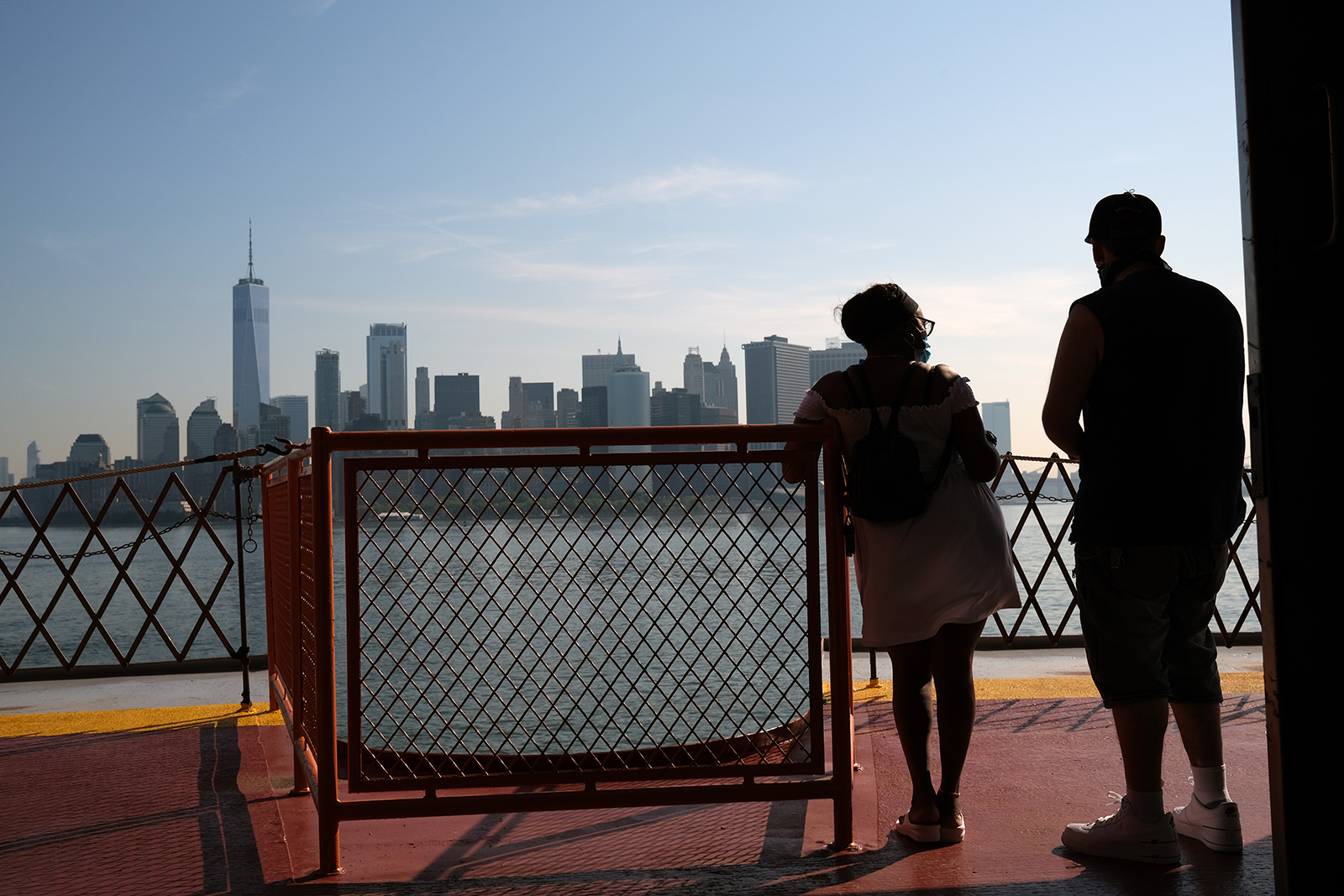 People ride the Staten Island Ferry on as New York City officially begins 'Phase Three' of opening on July 6, 2020 in New York City.