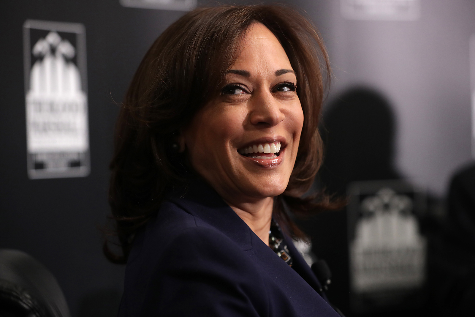 Sen. Kamala Harris participates in a interview and question-and-answer session with leaders from historically black colleges and universities during a Thurgood Marshall College Fund event at the JW Marriott February 07, 2019 in Washington, DC.
