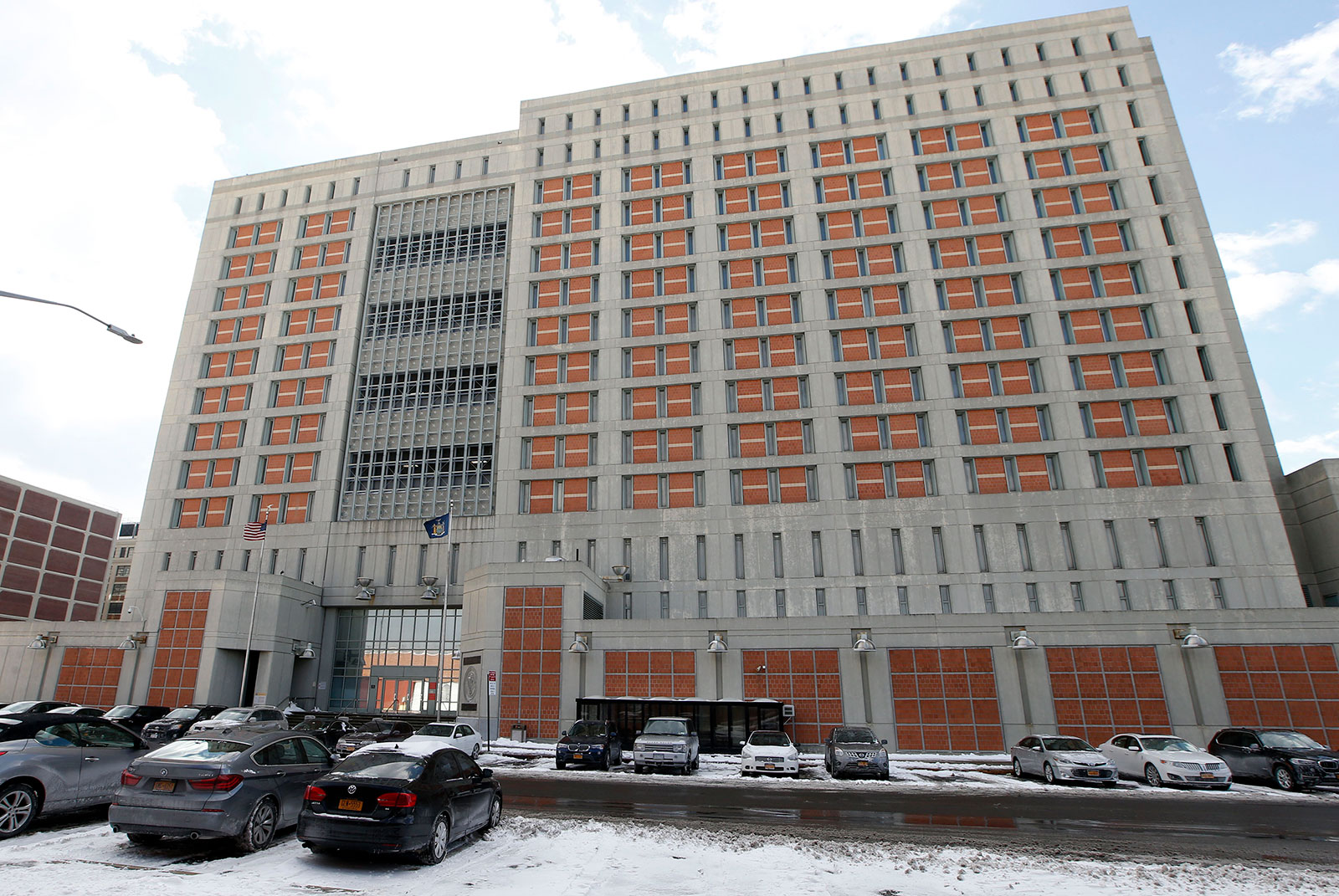 The exterior of the Metropolitan Detention Center in Brooklyn, New York.