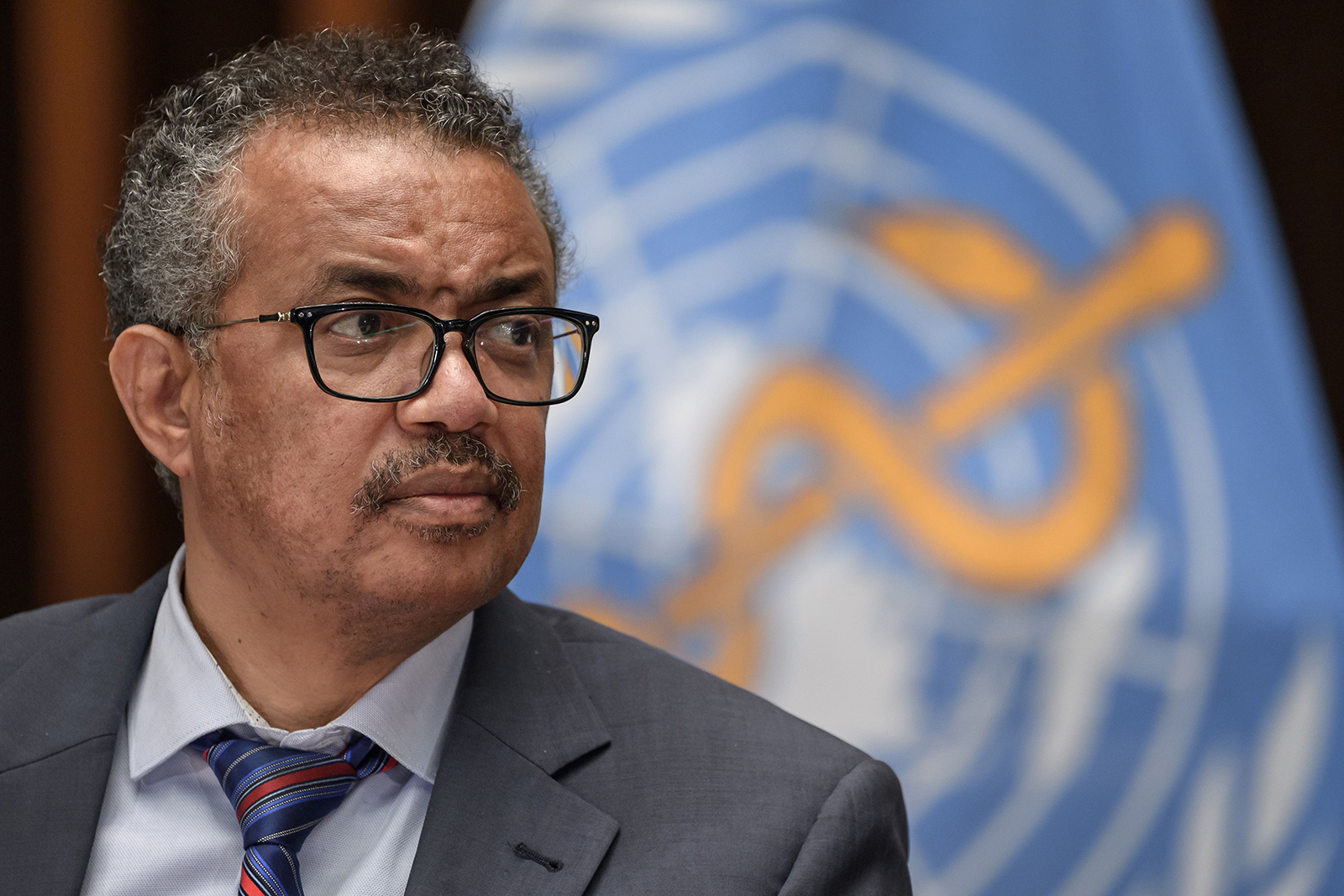 World Health Organization Director-General Tedros Adhanom Ghebreyesus attends a press conference on July 3, at the WHO headquarters in Geneva.