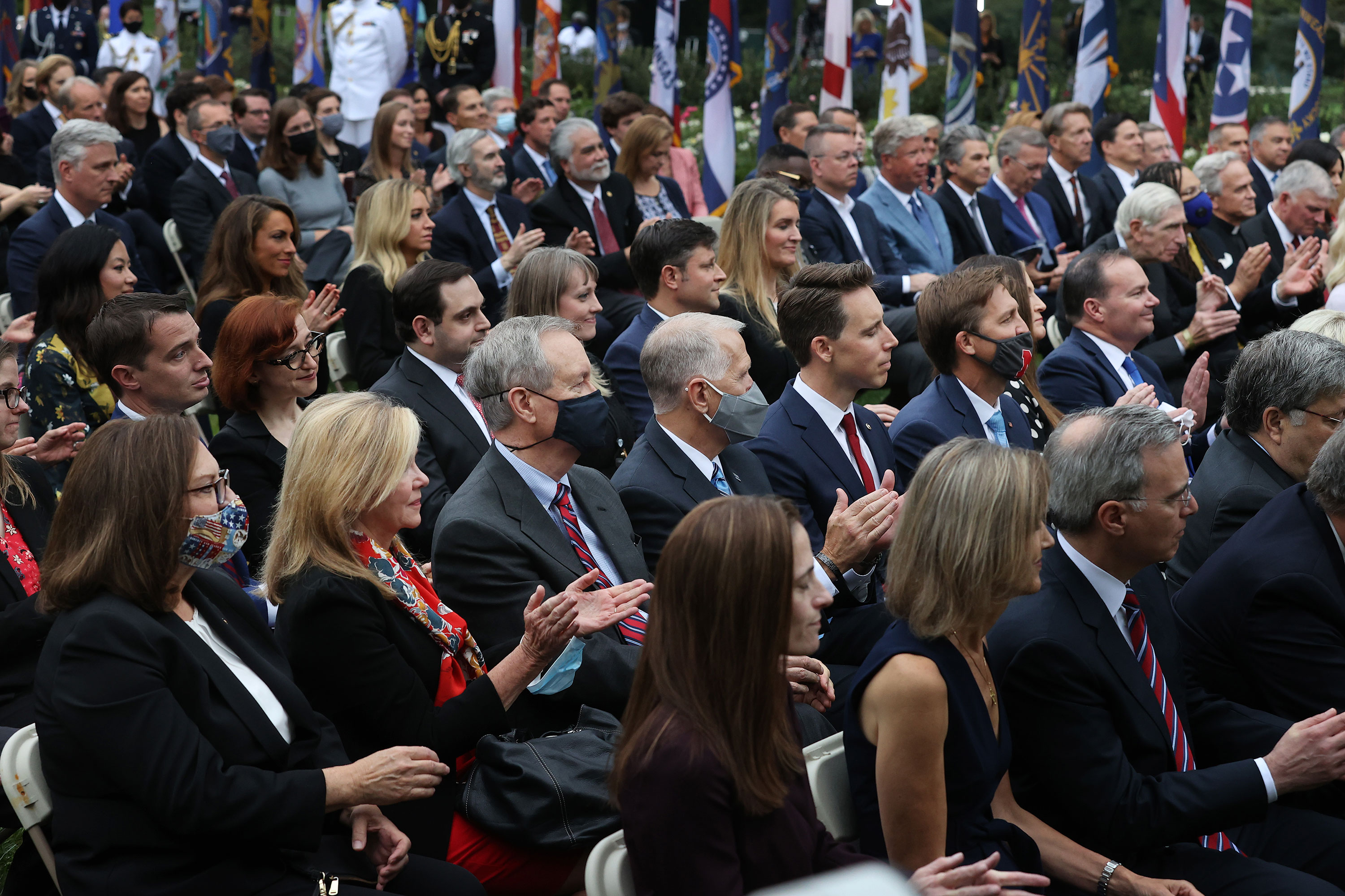Guests sit in the Rose Garden as President Donald Trump introduces Judge Amy Coney Barrett as his nominee to the Supreme Court on September 26 in Washington, DC.