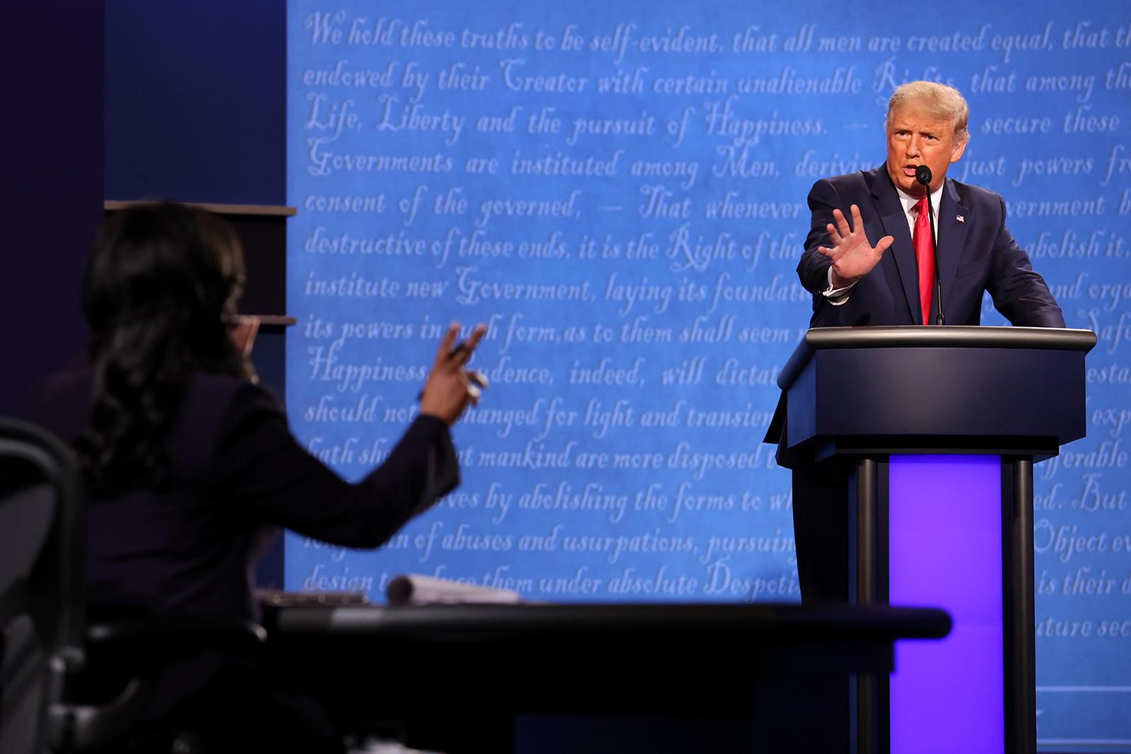 President Donald Trump participates in the final presidential debate against Democratic presidential nominee Joe Biden at Belmont University on October 22 in Nashville.