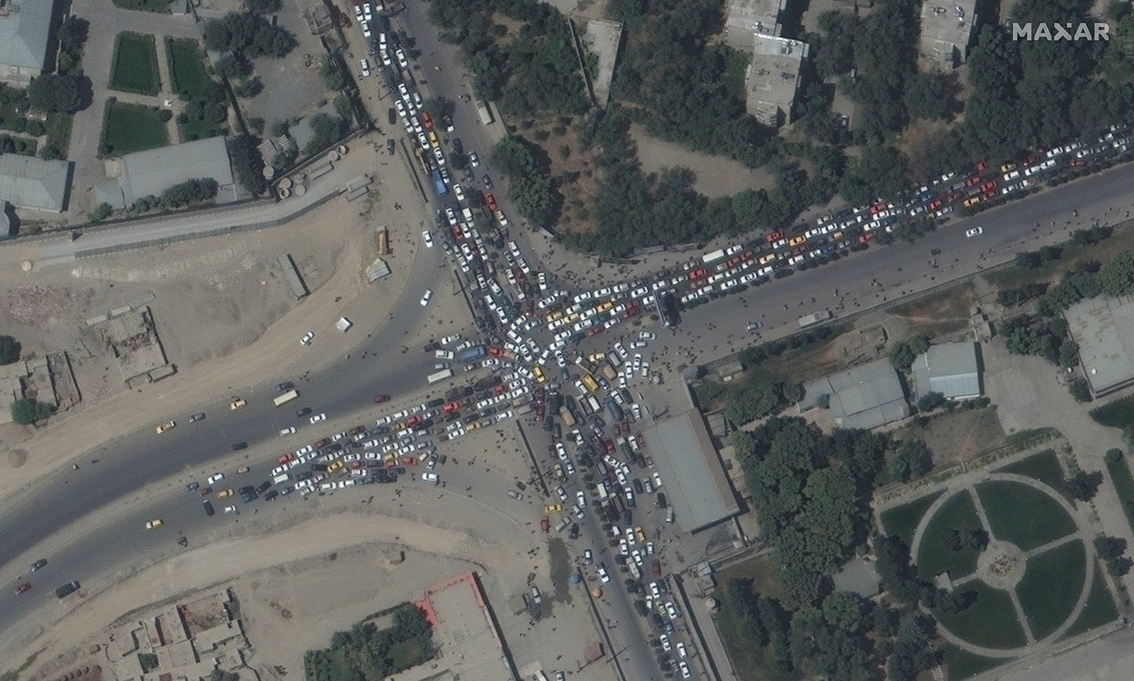 A traffic jam is seen near the airport.