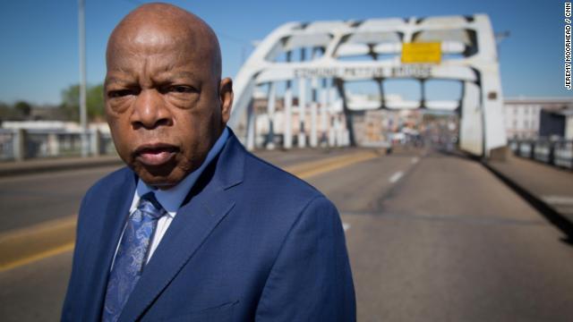 John Lewis at the Edmund Pettus Bridge in Selma, Alabama.