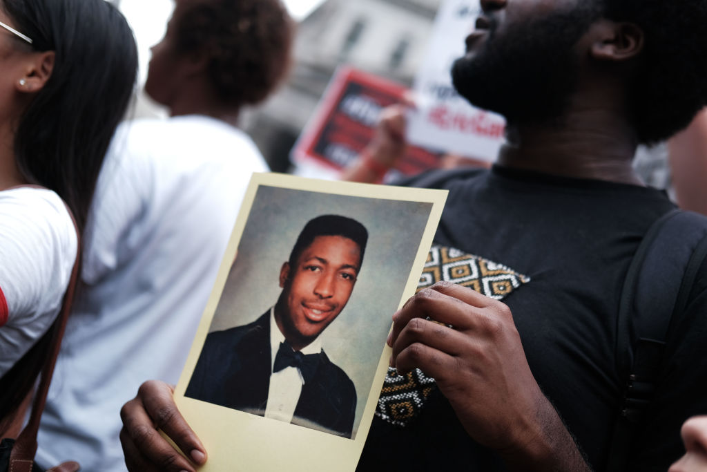 People participate in a protest to mark the five year anniversary on July 17, 2019 of the death of Eric Garner