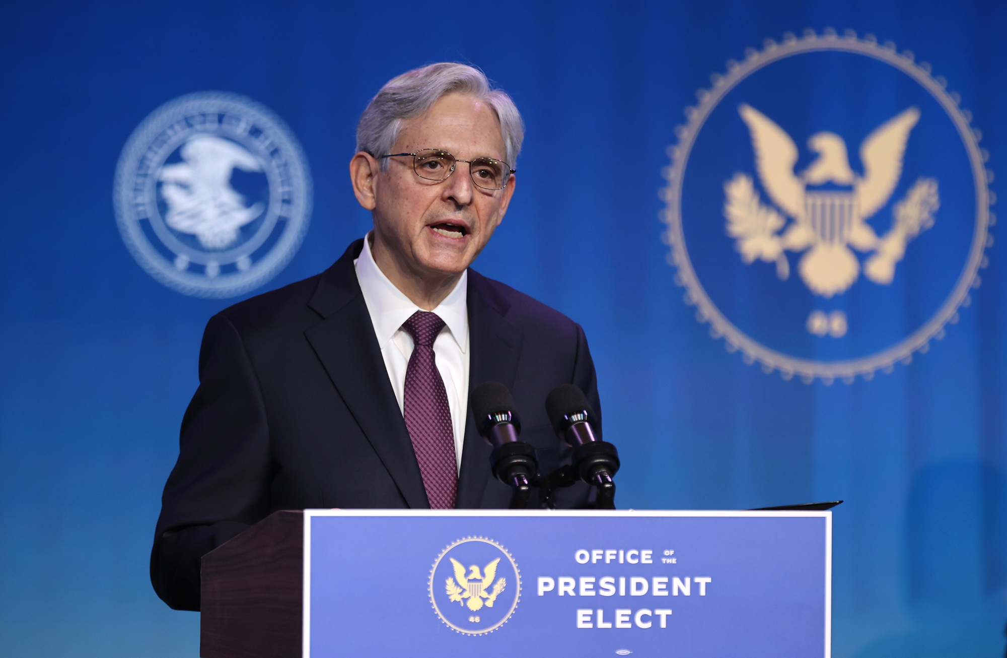 Federal Judge Merrick Garland delivers remarks after being nominated to be U.S. attorney general by President-elect Joe Biden at The Queen theater on January 7 in Wilmington, Delaware.