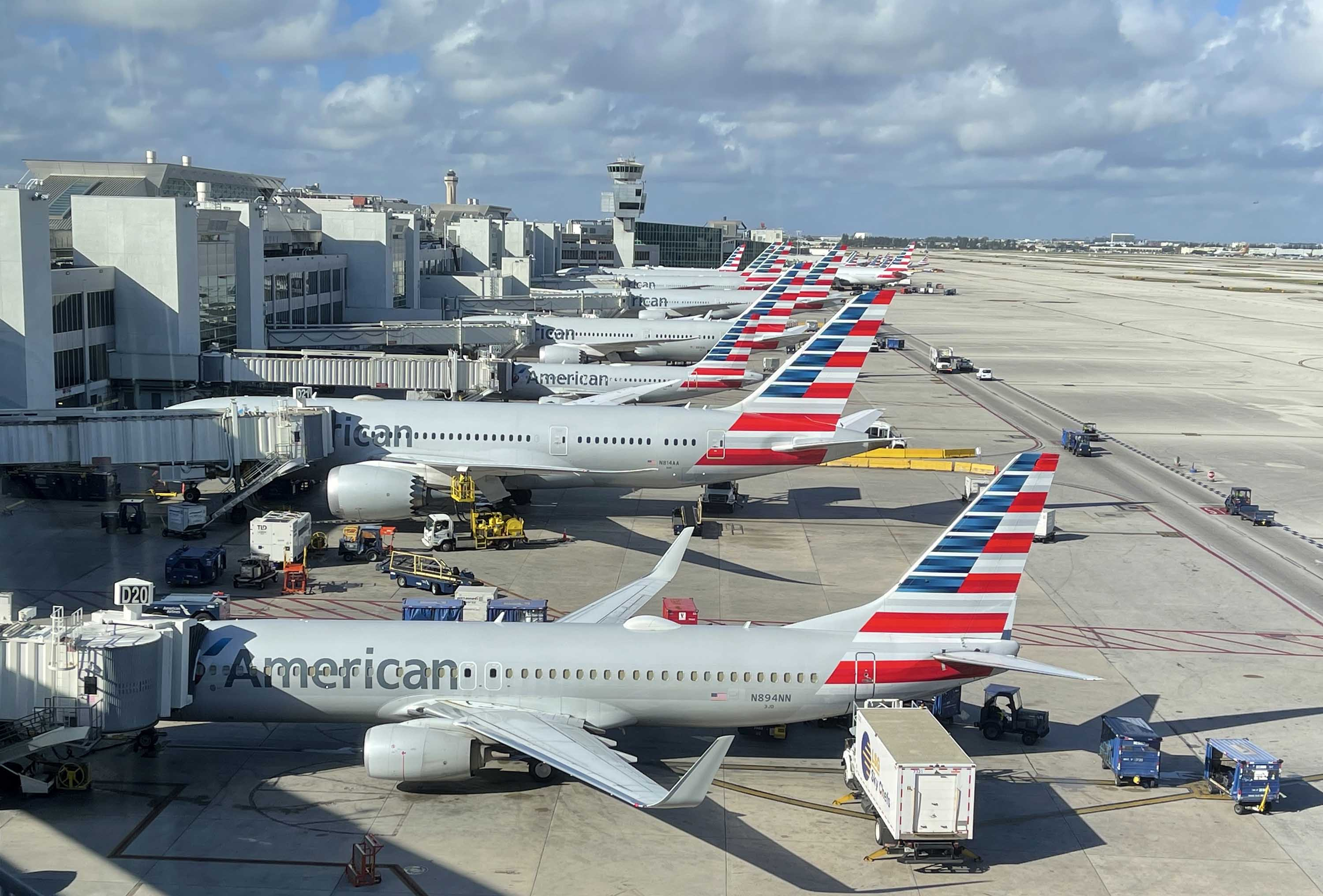 American Airlines planes are pictured at Miami International Airport on December 24, in Miami, Florida.