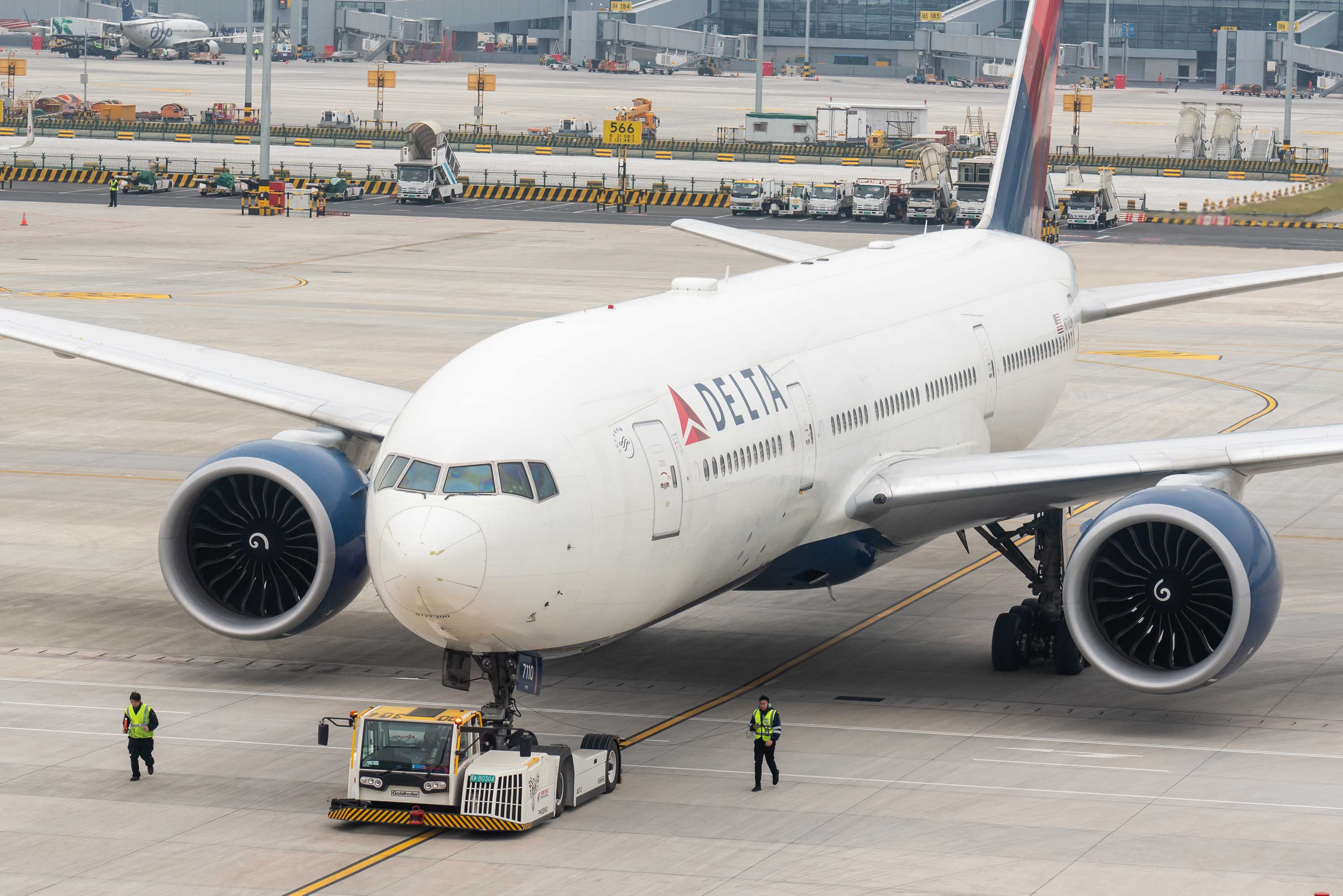 A Delta Airlines aircraft is pictured at Shanghai Pudong International Airport in November 2019.