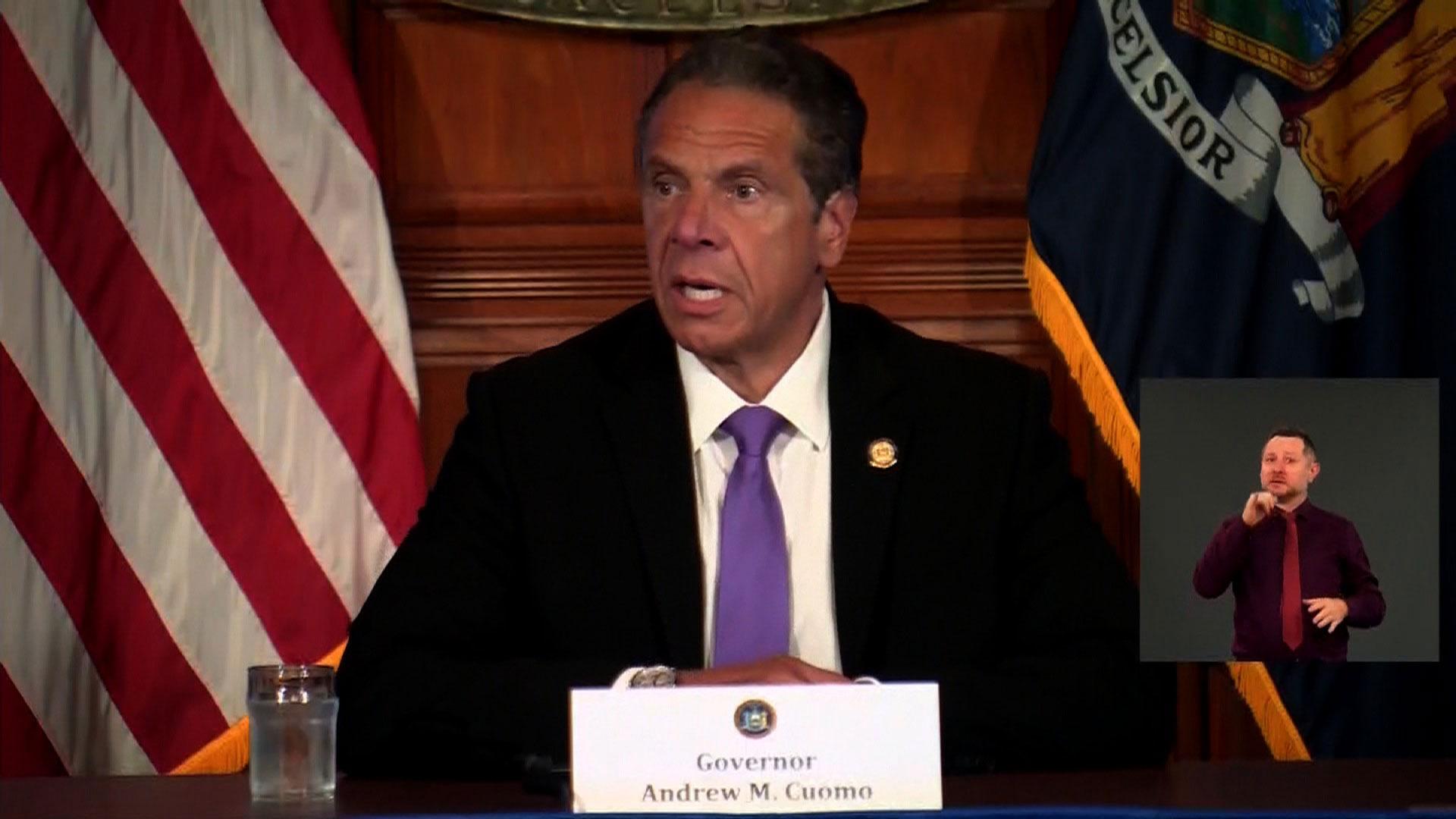 New York Gov. Andrew Cuomo speaks during a coronavirus briefing in Albany, New York, on June 2.