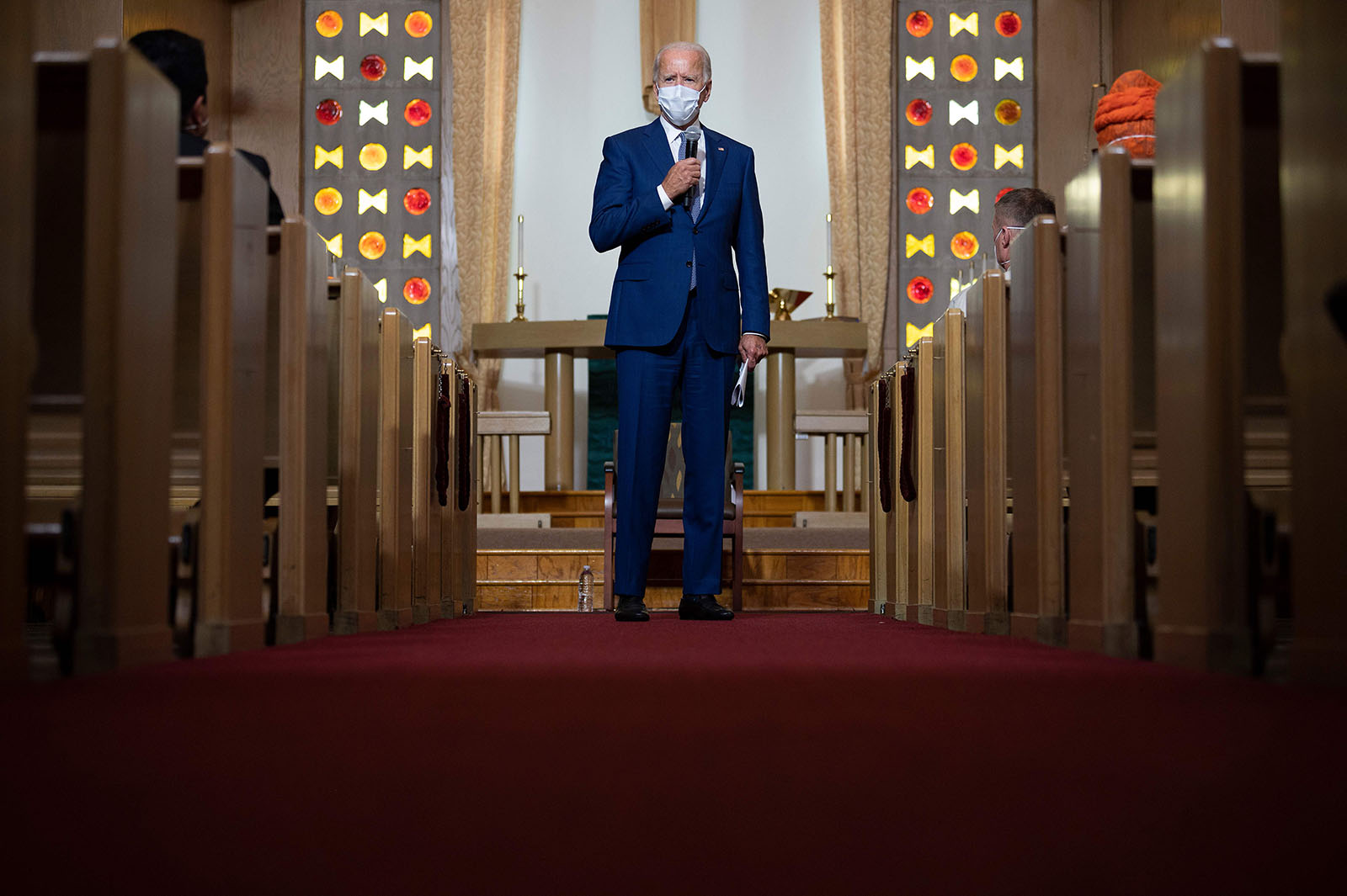Democratic presidential candidate and former US Vice President Joe Biden speaks at Grace Lutheran Church in Kenosha, Wisconsin, on September 3, in the aftermath of the police shooting of Jacob Blake.