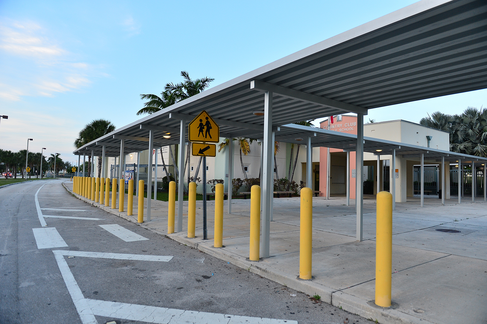 An exterior view of Country Club Middle School in Hialeah, Florida on July 07.