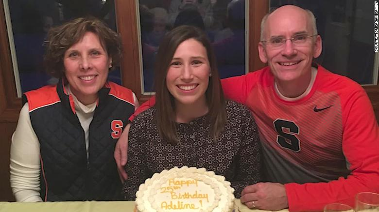 Adeline Fagan, center, celebrating a birthday with her parents.