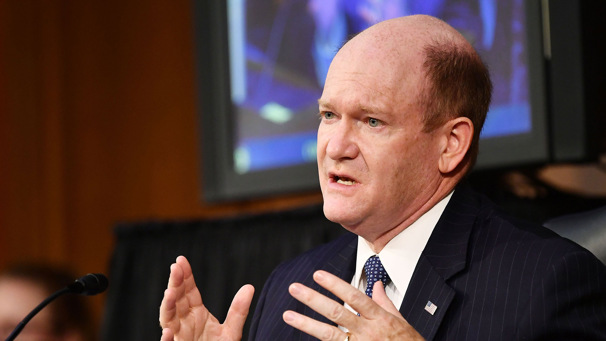 Senator Chris Coons testifies before the Senate Judiciary Committee on October 15, 2020 in Washington, DC.