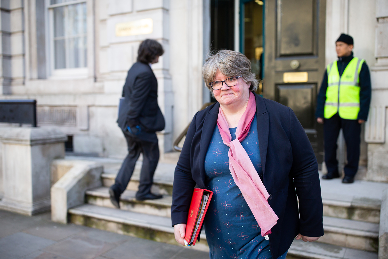 The Secretary of State for Work and Pensions, Thérèse Coffey, leaves the Cabinet Office in London, on March 11.