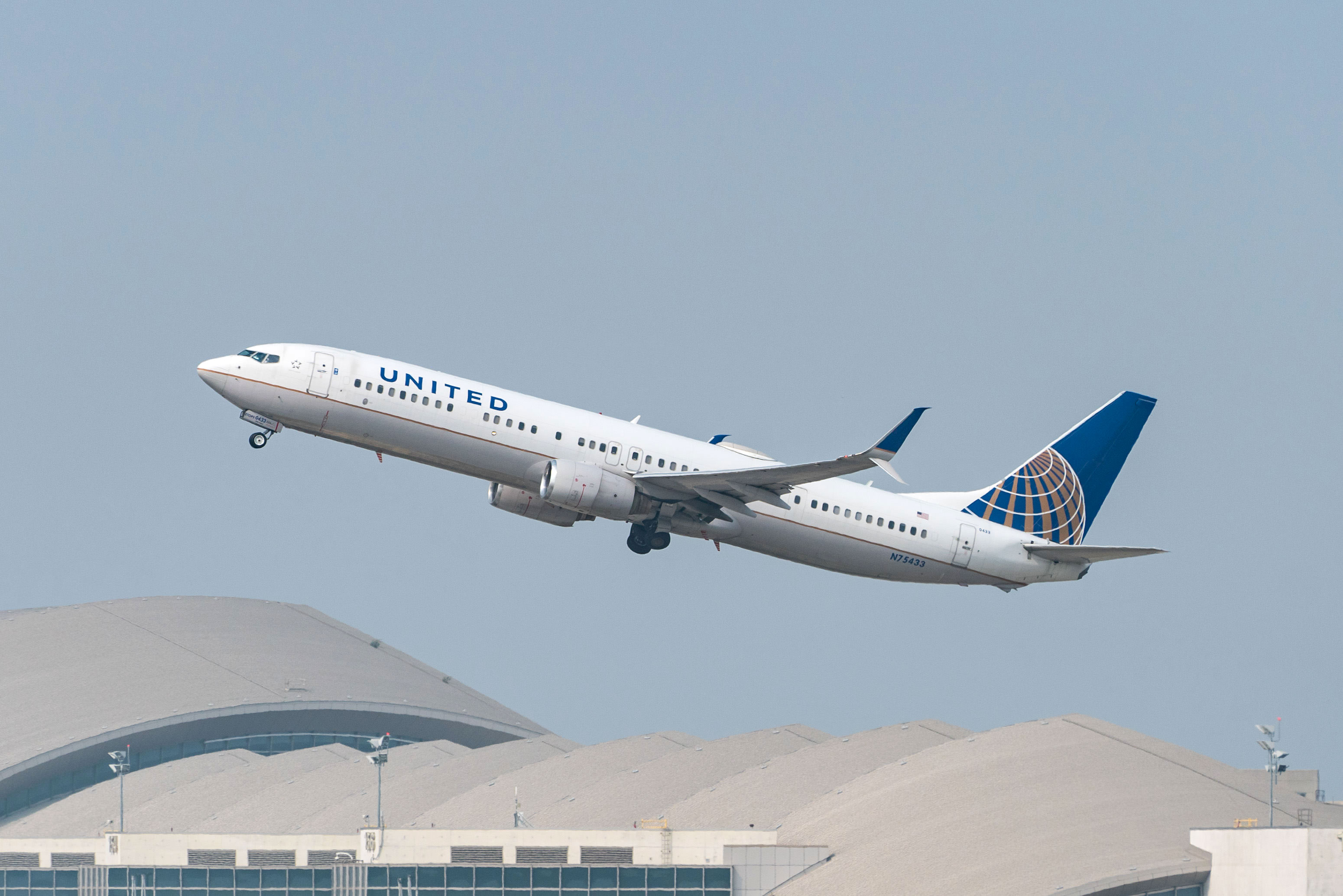 A United Airlines plane takes off from Los Angeles International Airport on September 15.