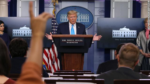 President Donald Trump speaks to reporters following a meeting of the coronavirus task force in the Brady Press Briefing Room at the White House on April 7, in Washington.