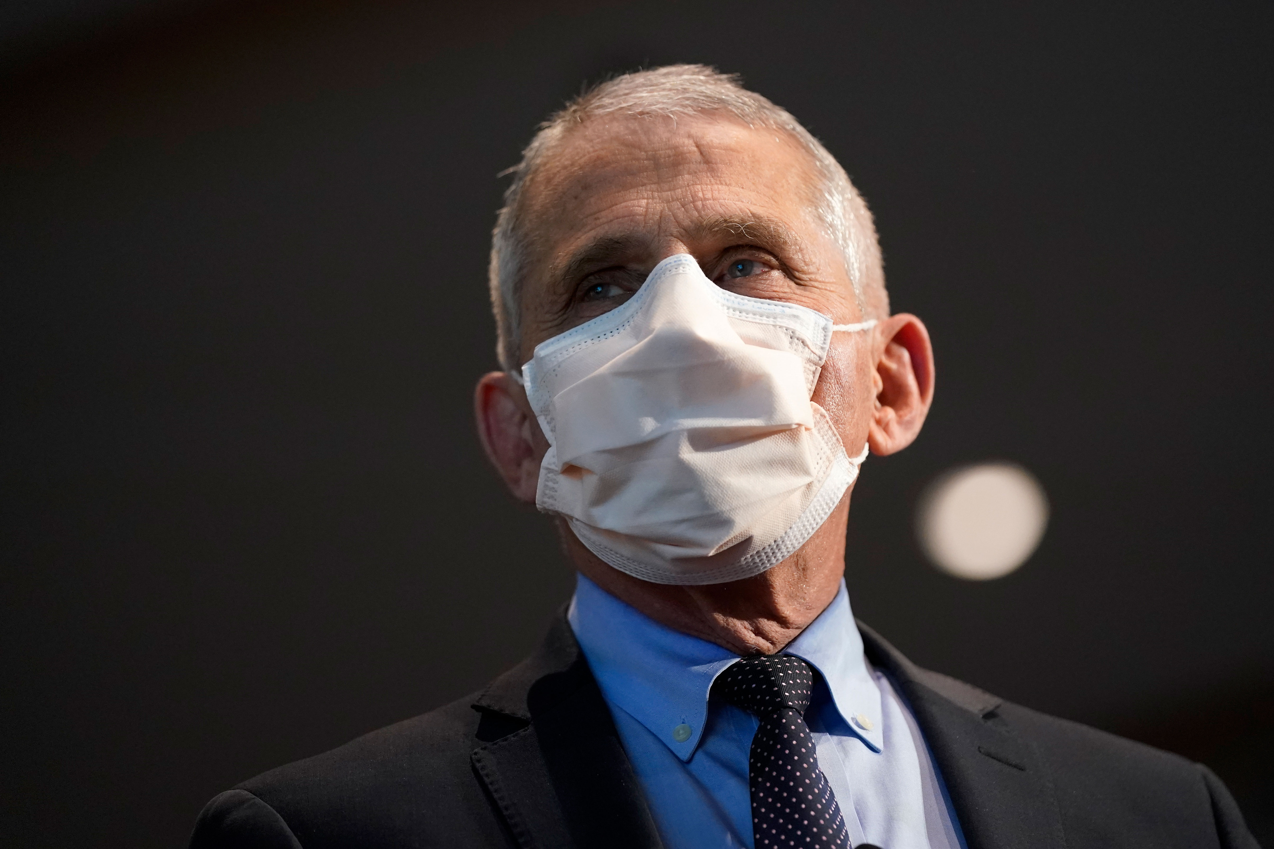 Dr. Anthony Fauci is pictured before receiving his first dose of a Covid-19 vaccine on December 22 in Bethesda, Maryland.