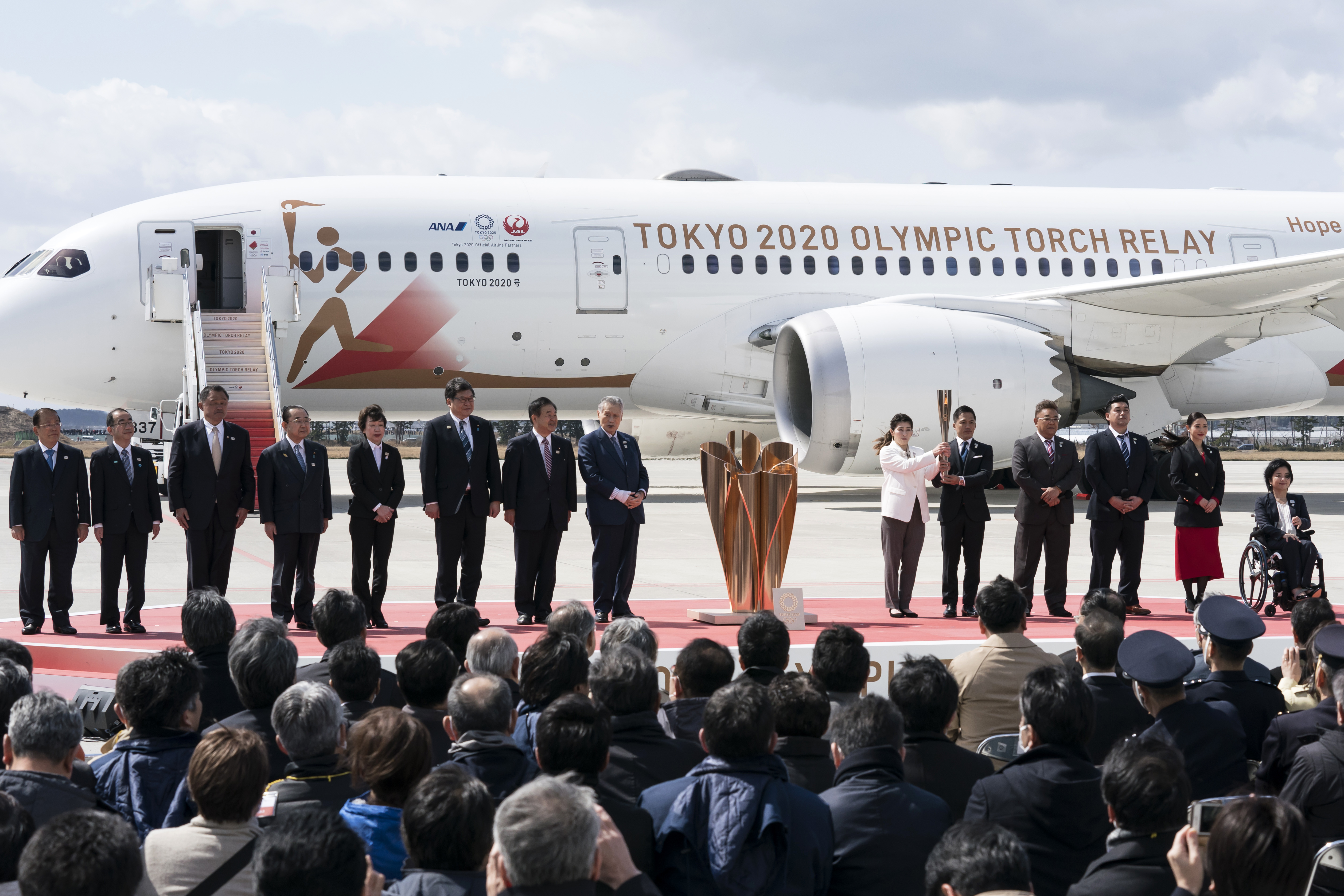 Olympic representatives attend the Tokyo 2020 Olympic Games Torch Arrival Ceremony in Matsushima, Miyagi, on Friday.