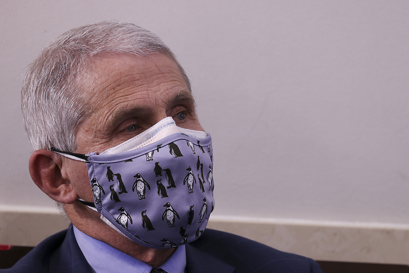 Dr. Anthony Fauci, director of the National Institute of Allergy and Infectious Diseases looks on during a White House Coronavirus Task Force press briefing in the James Brady Press Briefing Room at the White House on Thursday, November 19 in Washington.