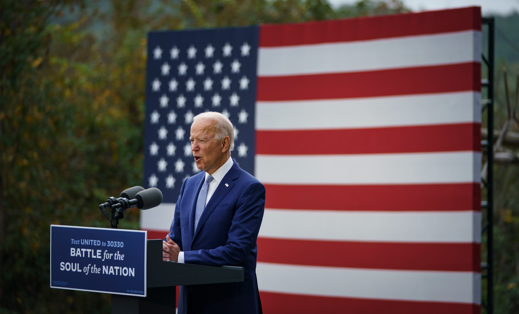 Democratic presidential nominee Joe Biden speaks during a campaign event at the Mountain Top Inn and Resort on October 27 in Warm Springs, Georgia.