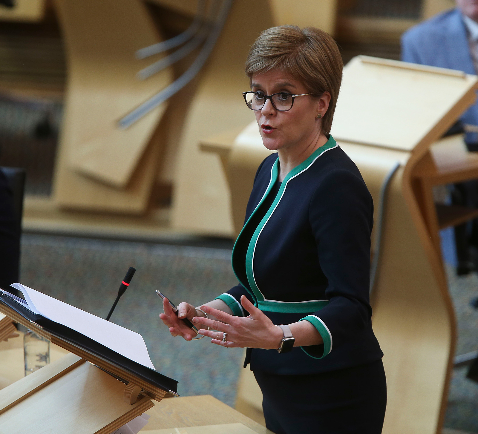 Nicola Sturgeon, First Minister of Scotland, at the Scottish Parliament Holyrood on April 21, in Edinburgh.