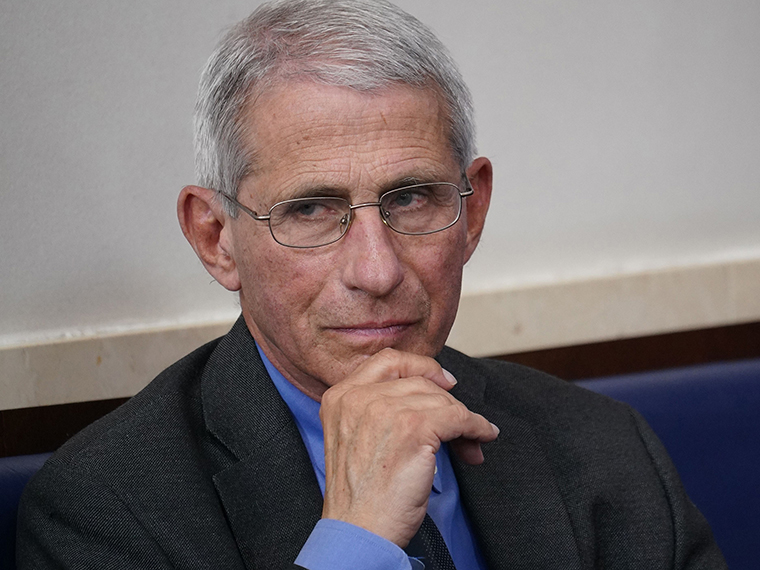 Director of the National Institute of Allergy and Infectious Diseases Anthony Fauci looks on during the daily briefing on the novel coronavirus at the White House on Tuesday, April 7.