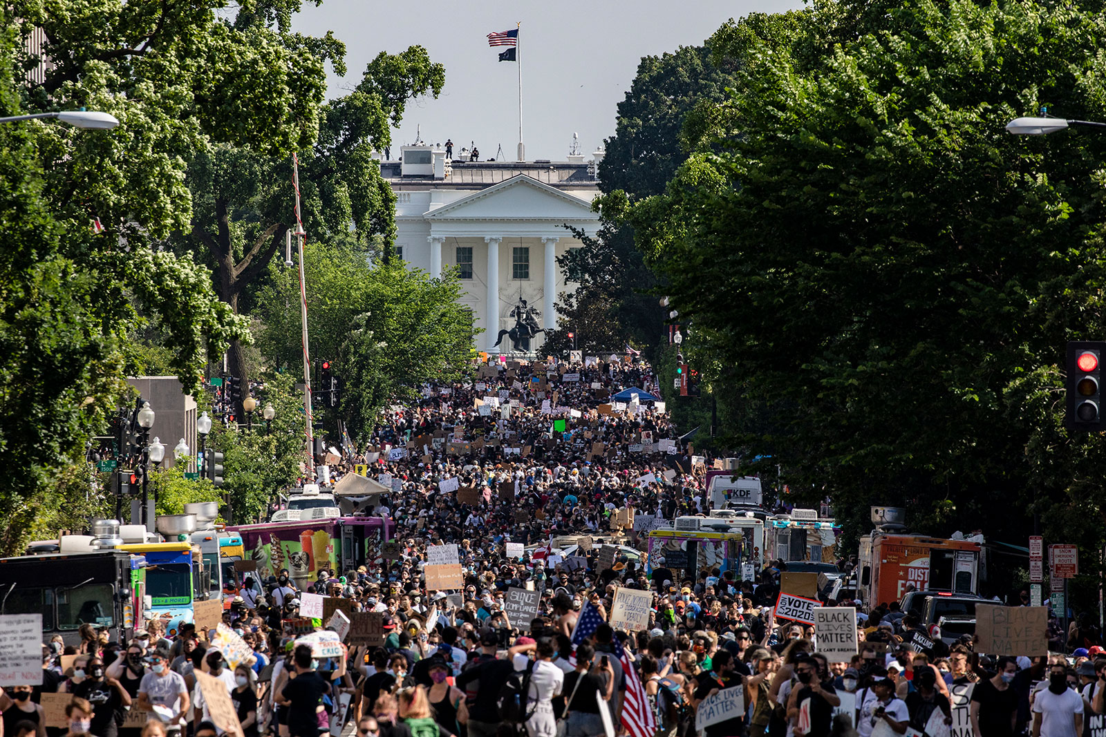 Protestors gather along 16th Street NW near the White House on June 6.