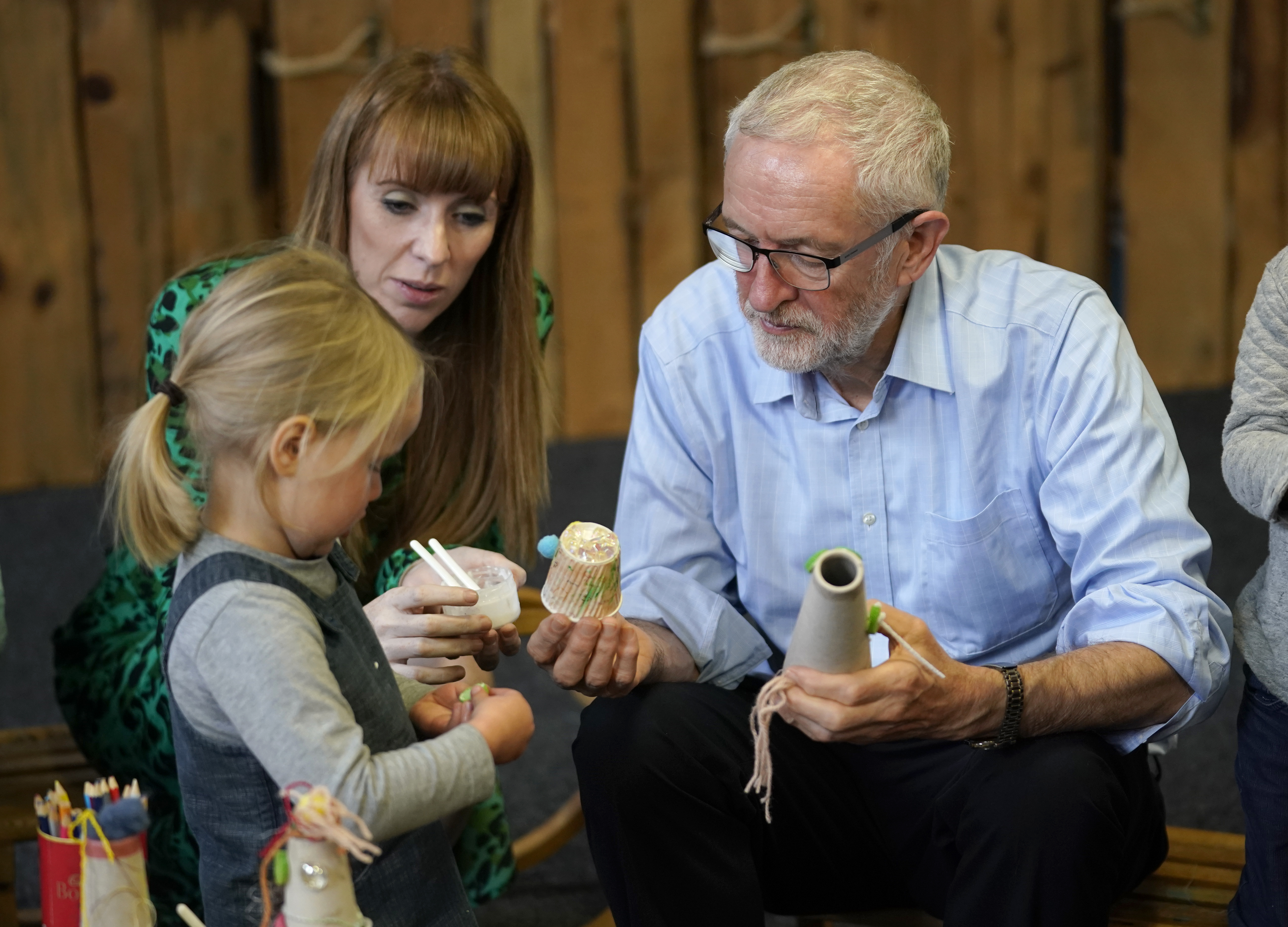 Labour leader Jeremy Corbyn playing with children in Leeds.