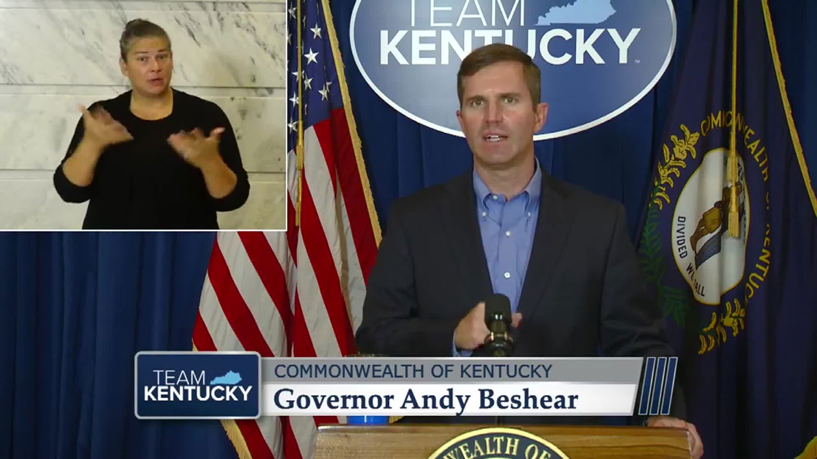 Kentucky Gov. Andy Beshear speaks at a news conference on Wednesday, August 12.