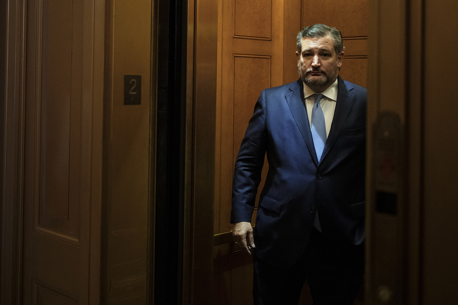 Sen. Ted Cruz of Texas rides an elevator at the US Capitol building in Washington, DC on August 7.