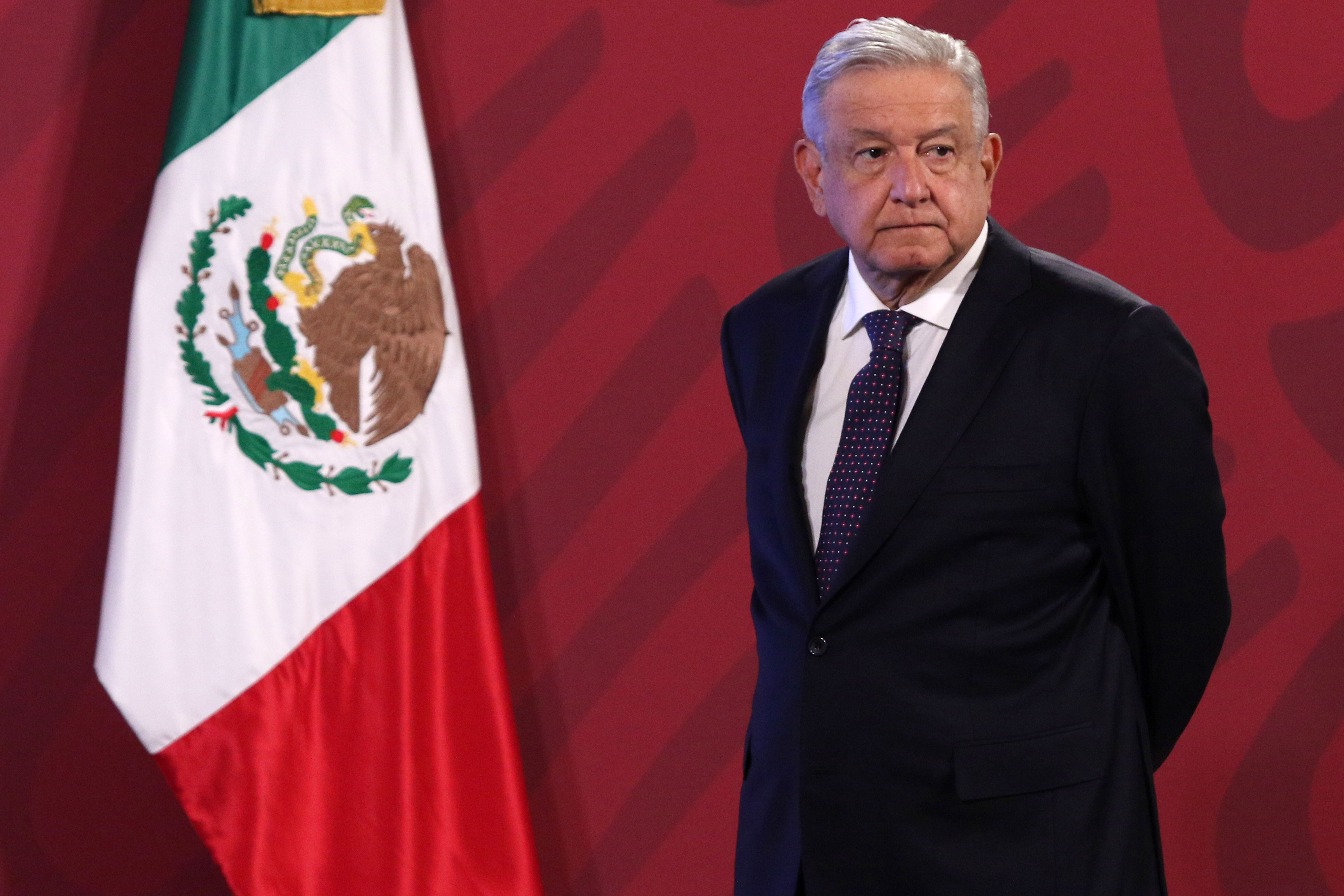 Mexican President Andrés Manuel López Obrador holds a news conference in Mexico City on November 5, 2020.