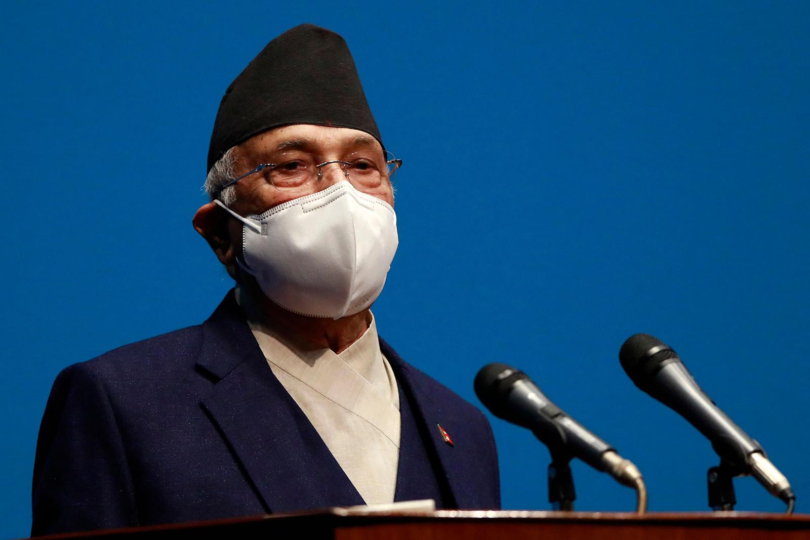 Nepal's leader K.P. Sharma Oli speaks at parliament in Kathmandu, Nepal, on May 10.