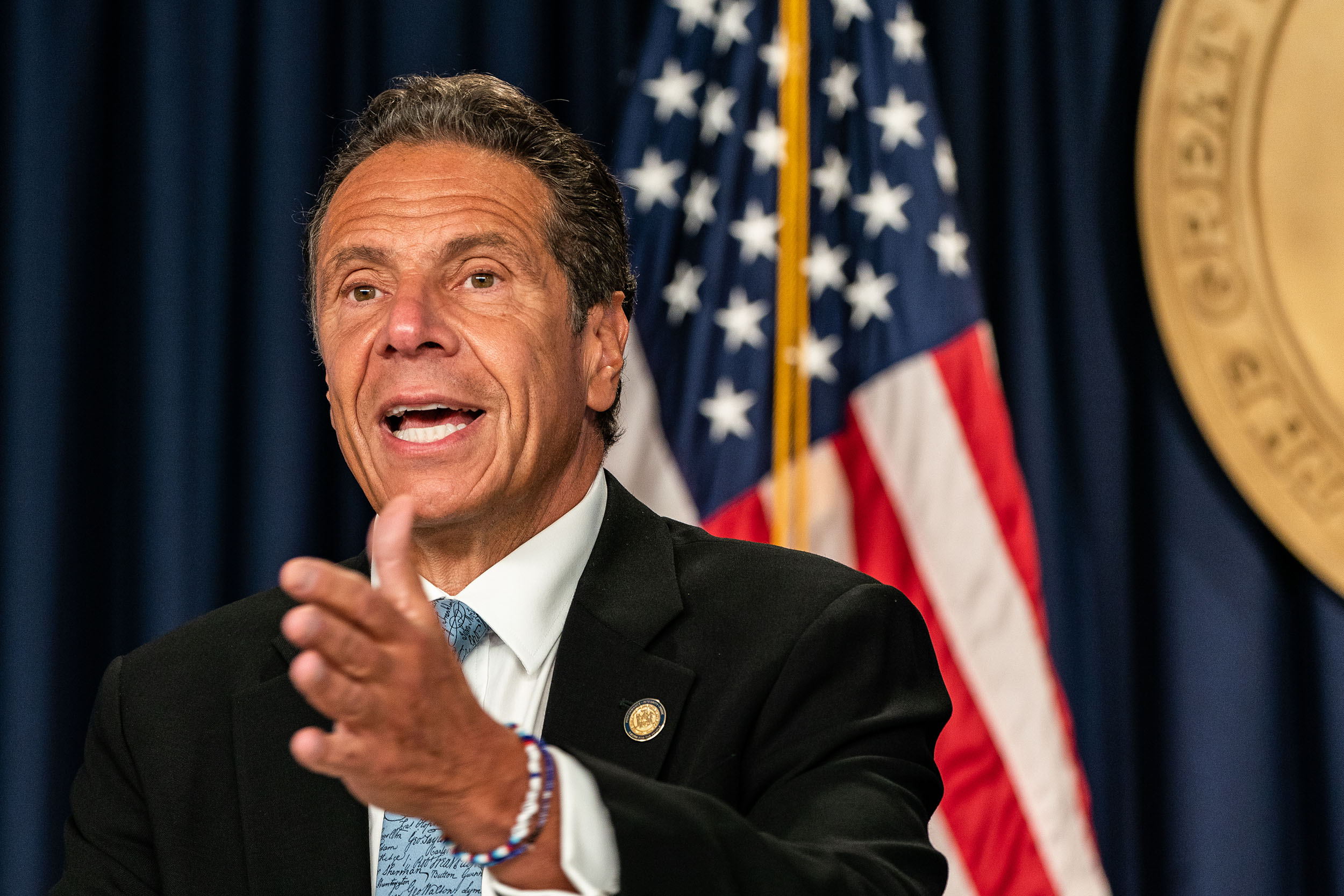 New York Gov. Andrew Cuomo speaks during the daily media briefing at the Office of the Governor of the State of New York on July 23, in New York.
