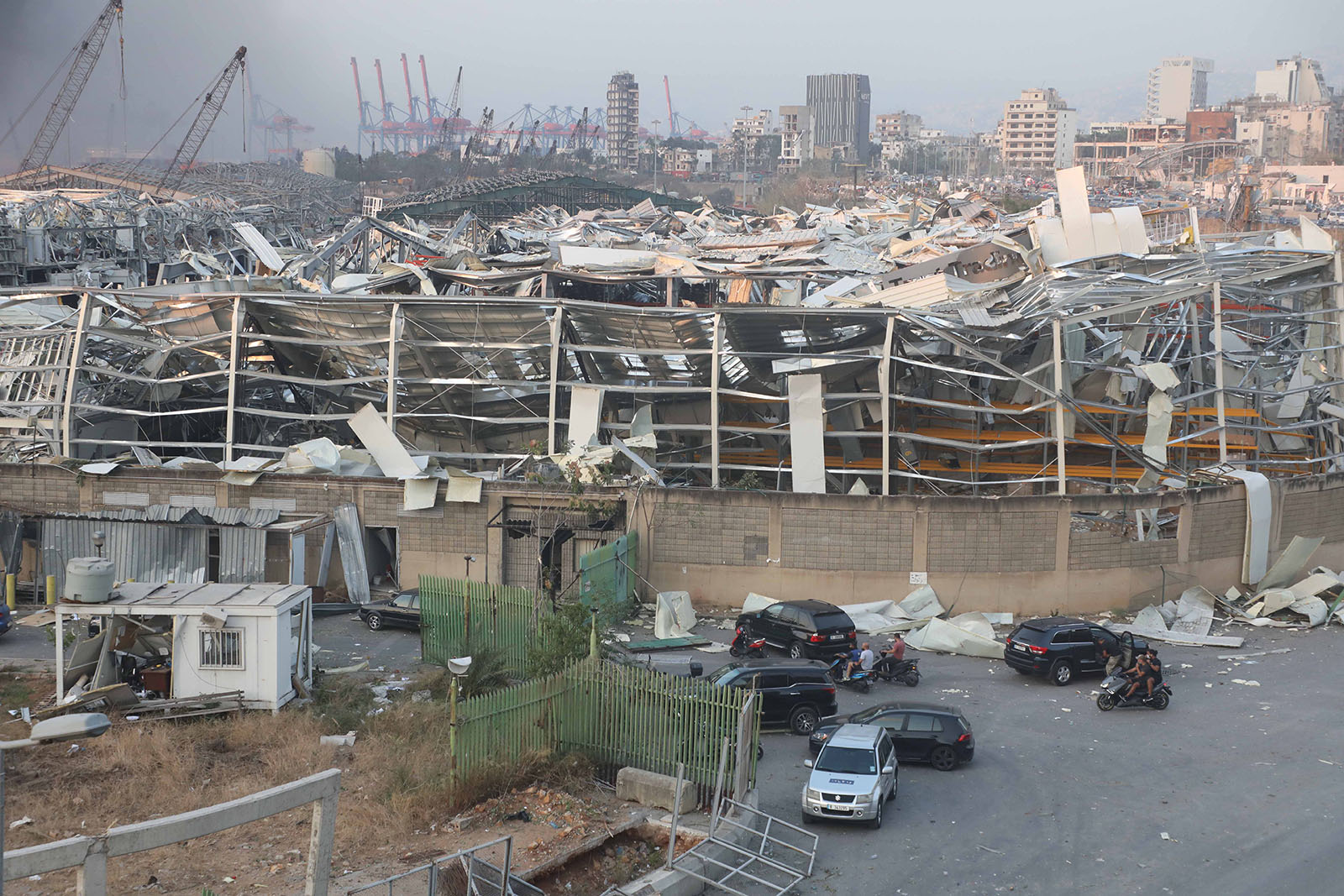 Damaged buildings are seen after the explosion at the port of Beirut, Lebanon, August 4.