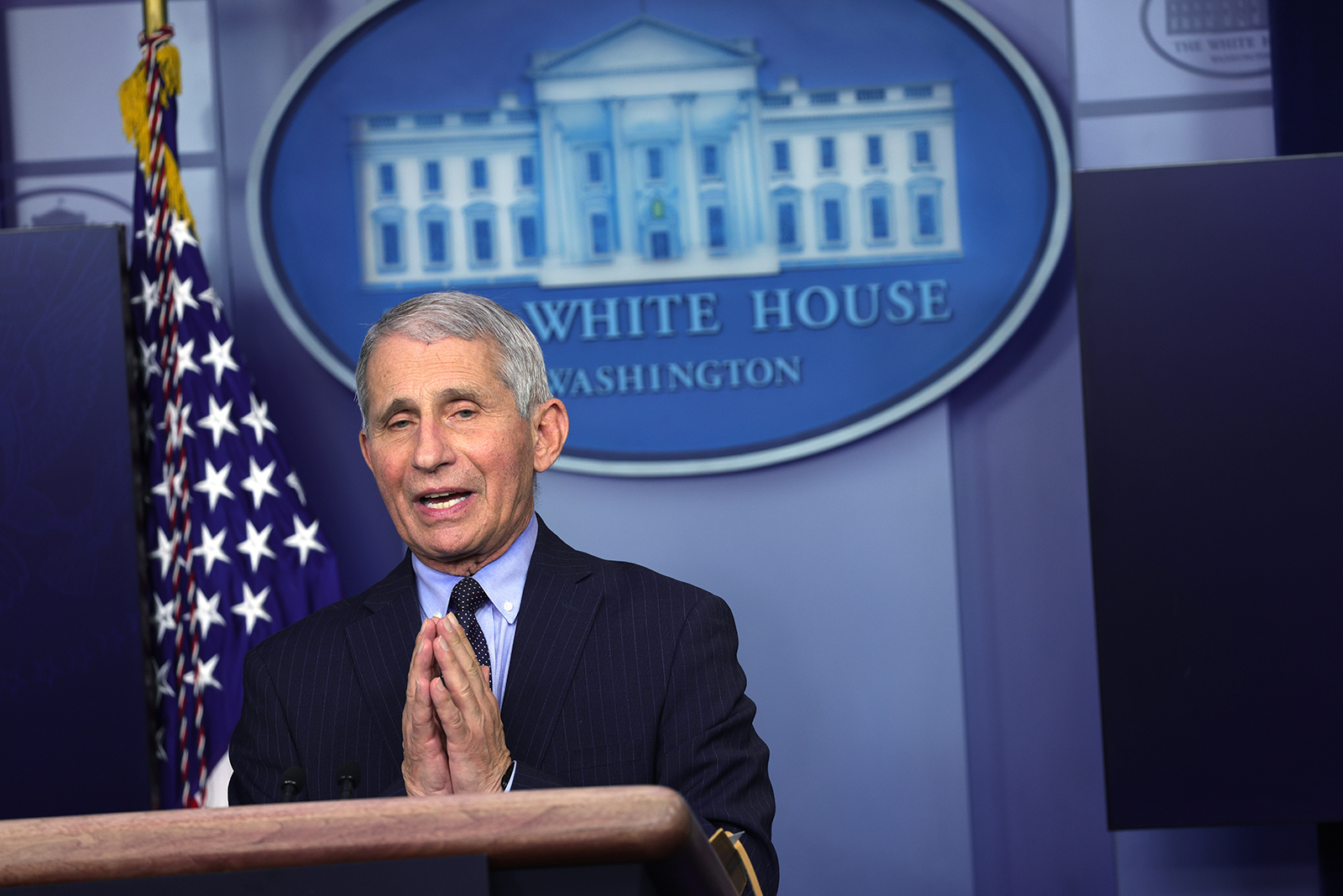 Dr. Anthony Fauci, director of the National Institute of Allergy and Infectious Diseases, speaks during a White House briefing in Washington, DC, on January 21.