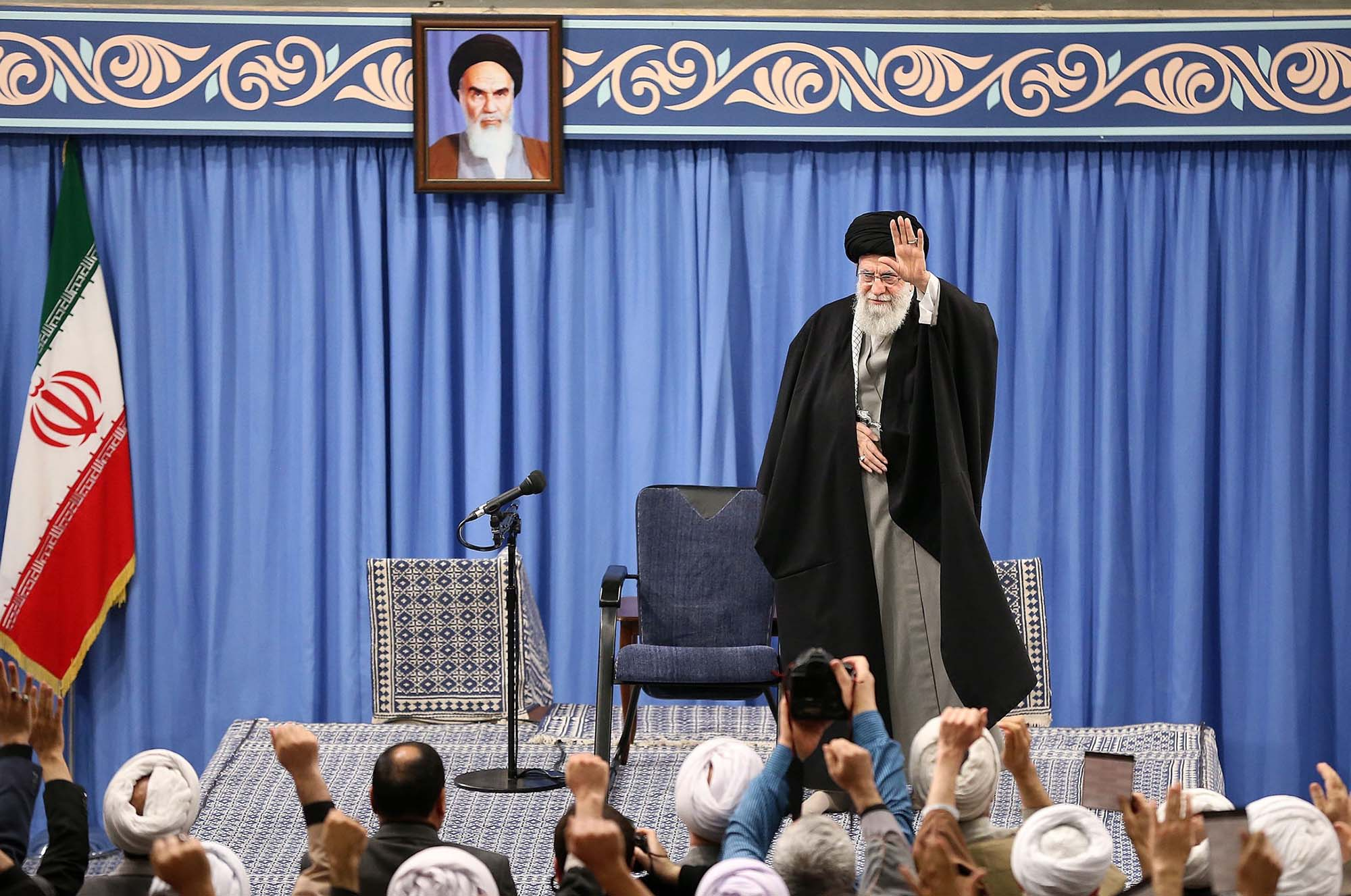 Iranian Supreme Leader Ayatollah Ali Khamenei attends a meeting on Wednesday to speak about the missile attacks on US bases in Iraq.
