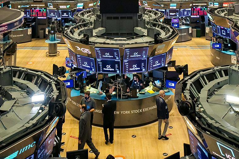 Traders working on the New York Stock Exchange's floor on Wednesday Oct. 28, 2020.