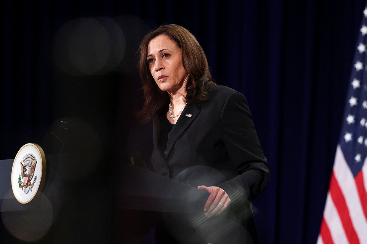 Vice President Kamala Harris holds a press conference before departing Vietnam for the United States on August 26.