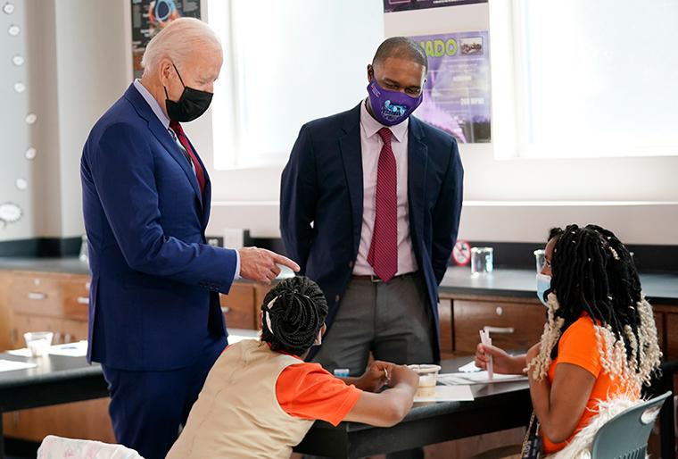 President Joe Biden tours Brookland Middle School on Friday, Sept. 10, 2021 in Washington.