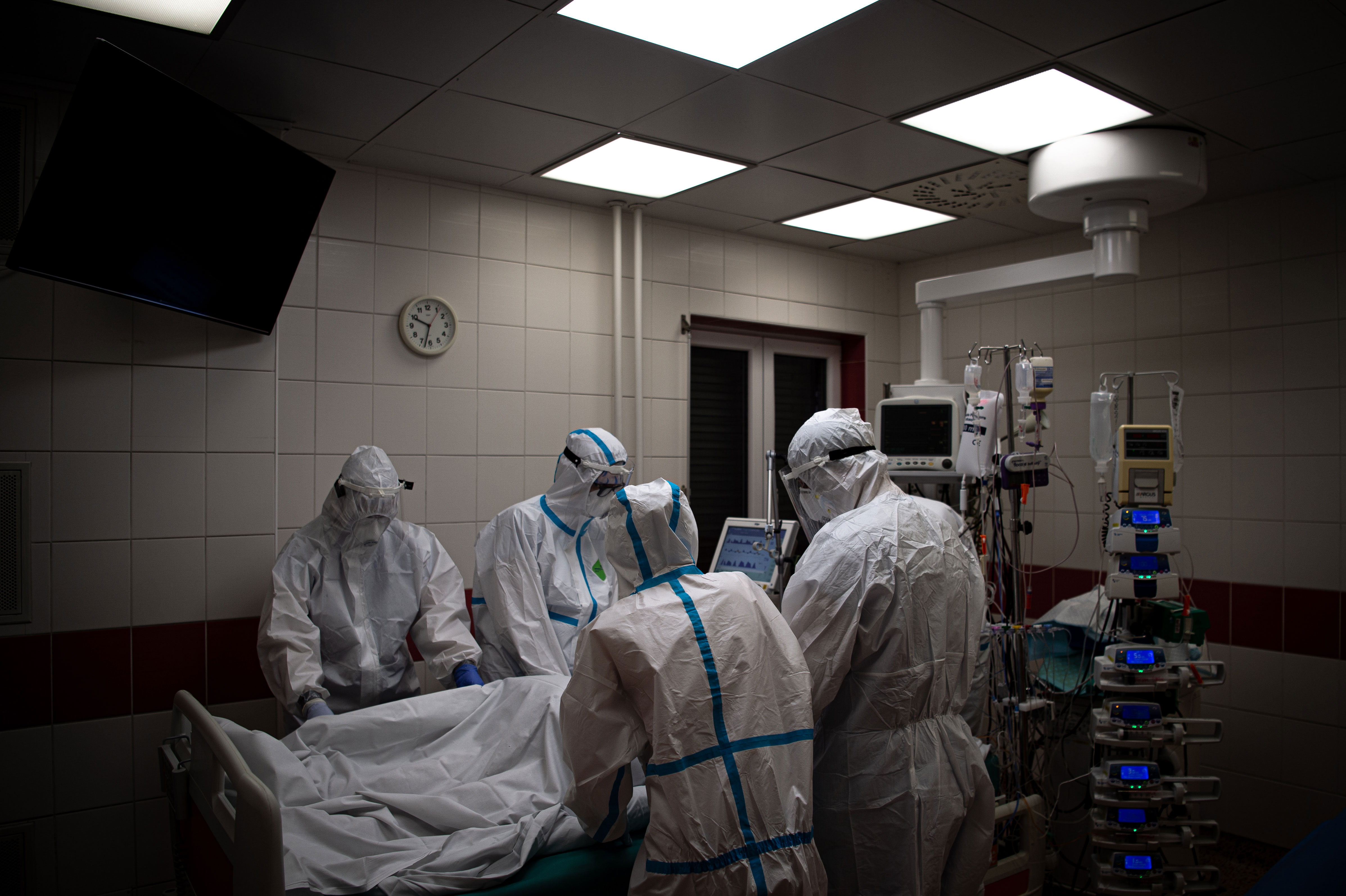 Medical personnel care for a patient with Covid-19 at a hospital in Ostrava, Czech Republic, on October 30.