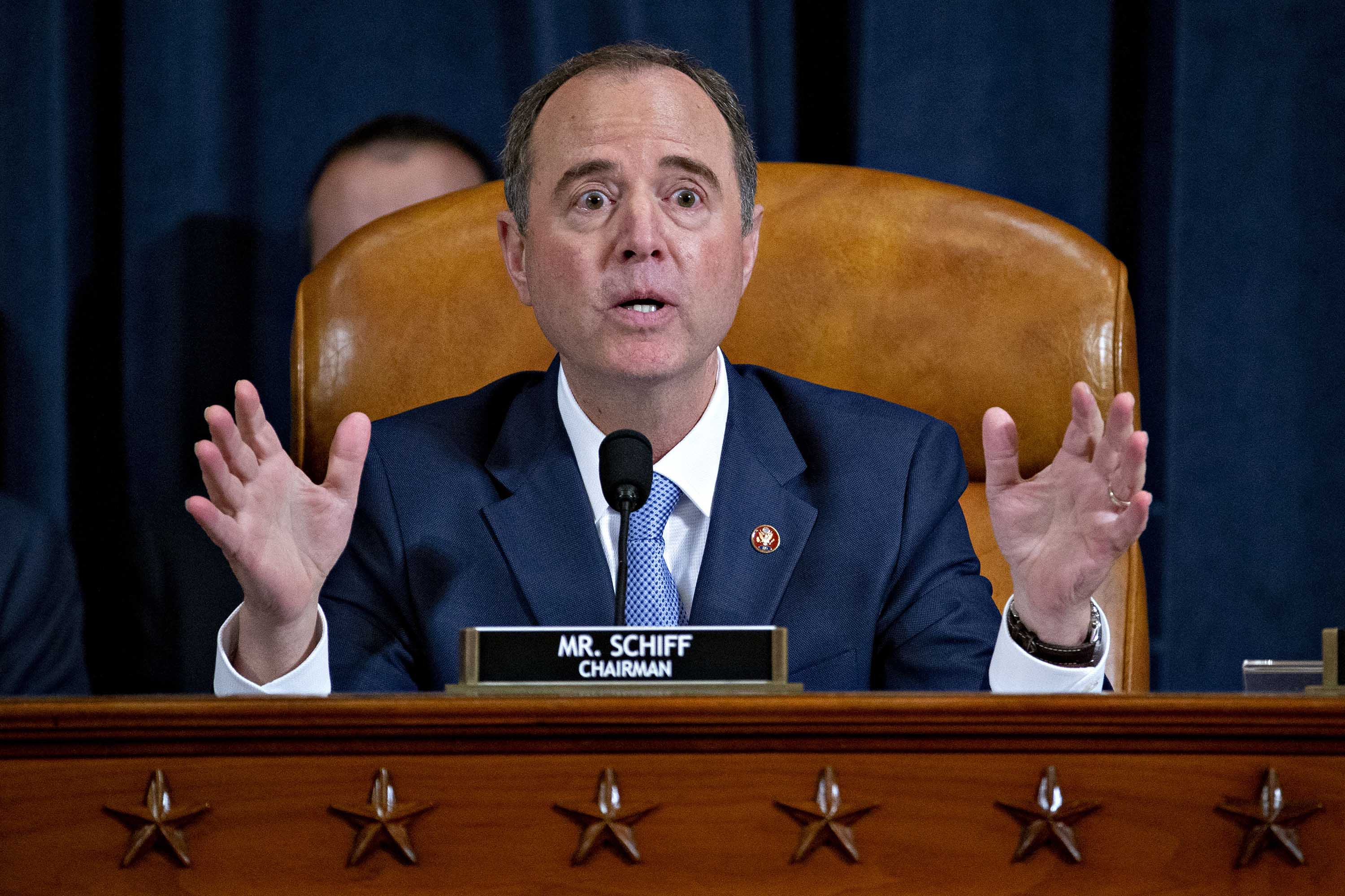 Representative Adam Schiff makes a closing statement during an impeachment inquiry hearing on Capitol Hill in November. Photo: Andrew Harrer-Pool/Getty Images
