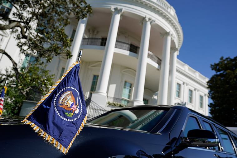 A vehicle sits outside the White House on Tuesday, Nov. 3, 2020, in Washington.